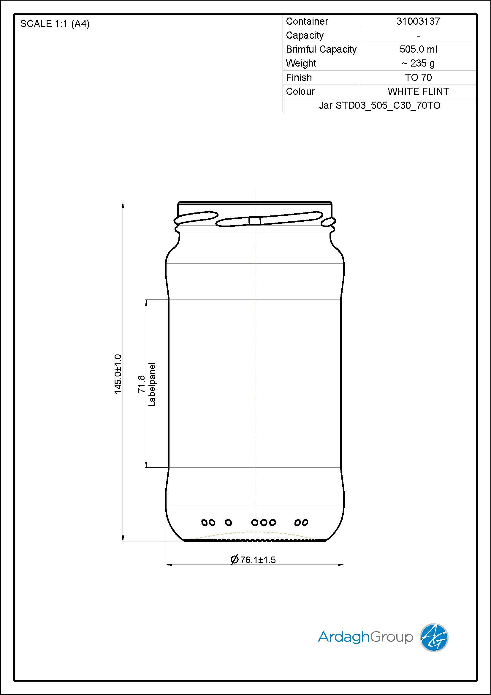 500ml flint glass food jar