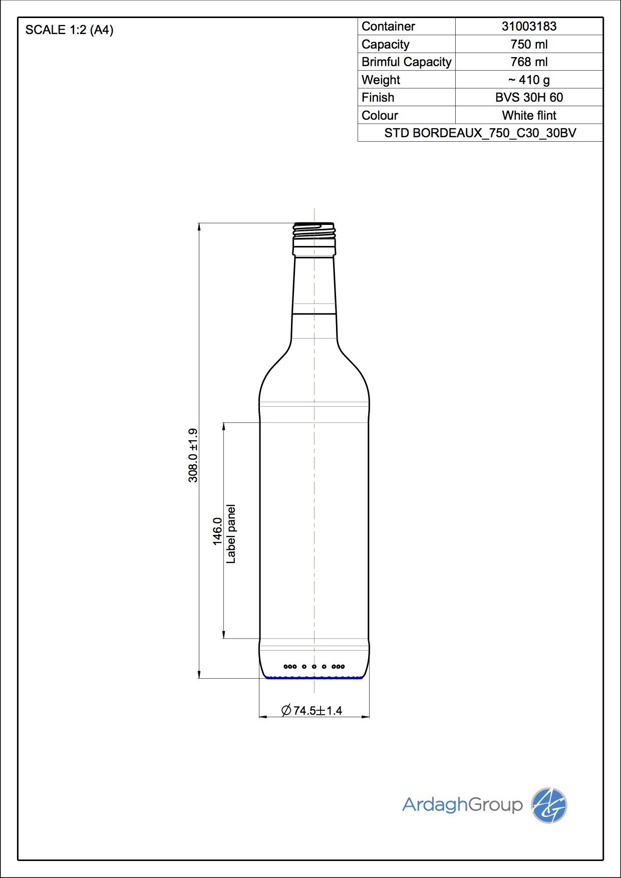 750ml Flint Glass Bordeaux Wine Bottle 31003183