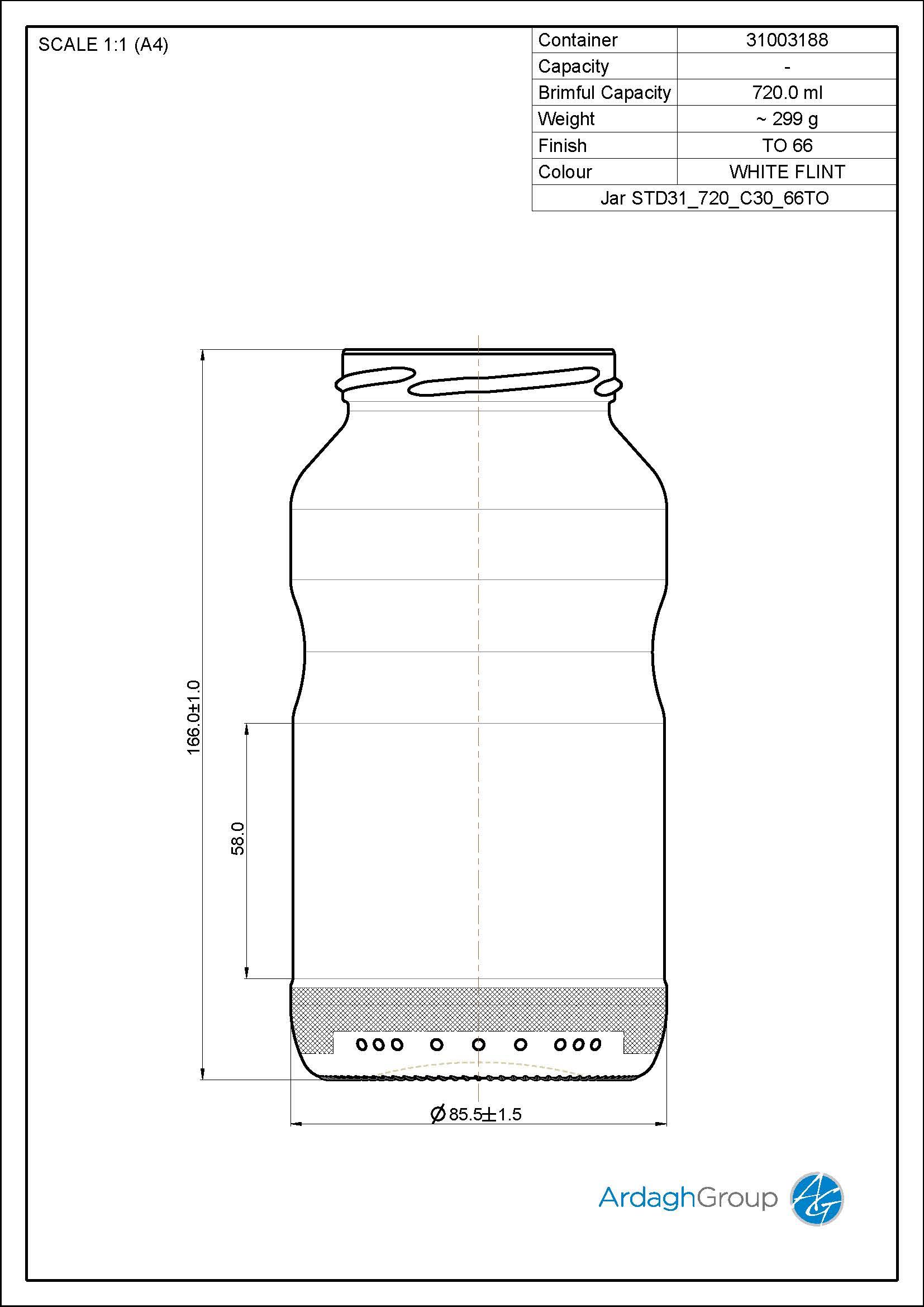 720ml Flint Glass Food Jar 31003188