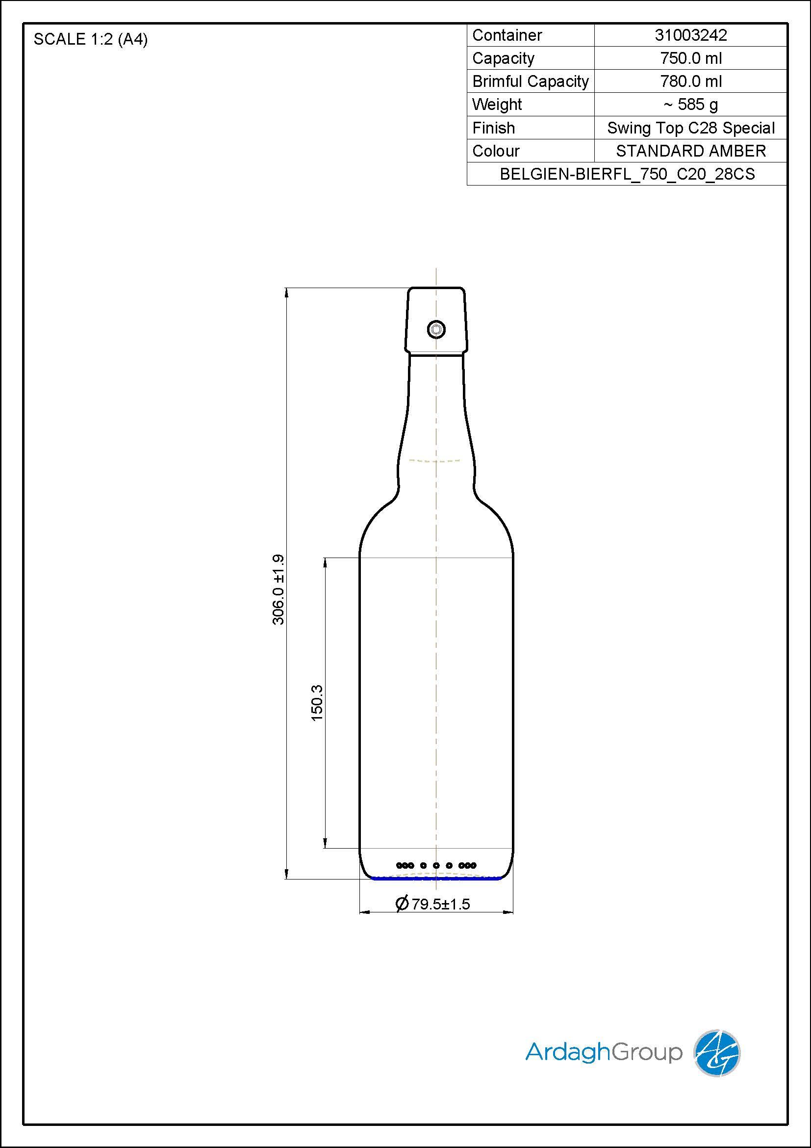 750ml amber glass Belgien returnable beer bottle