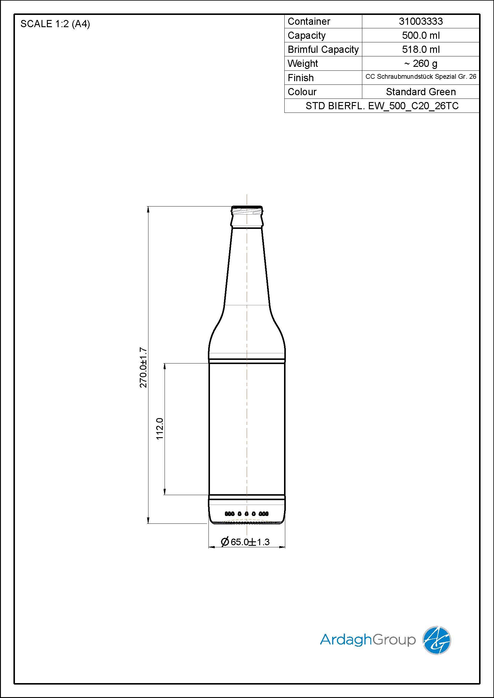 500ml Green Glass Beer Oneway Bottle 31003333