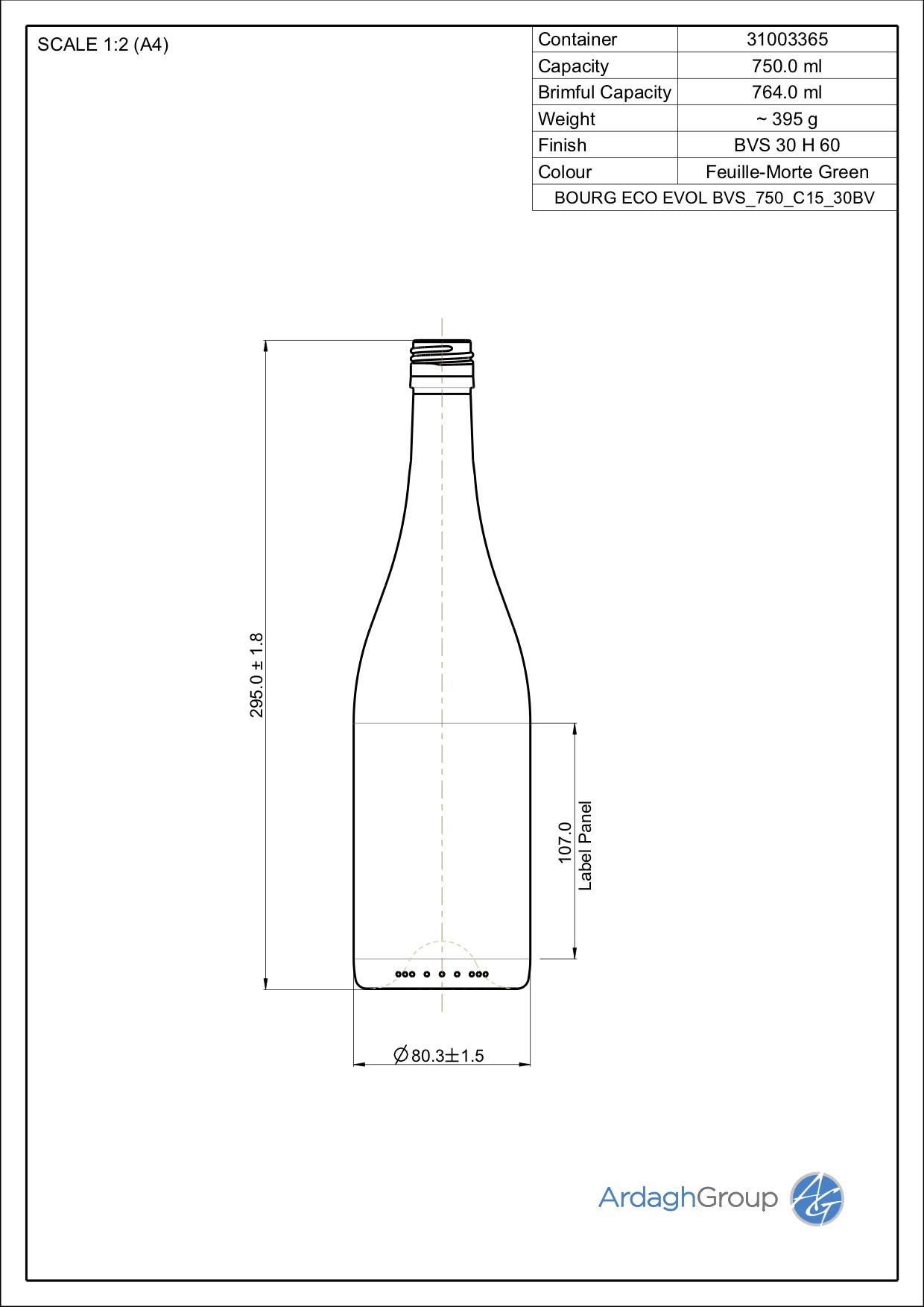 750ml green glass Bourg Eco oneway wine bottle