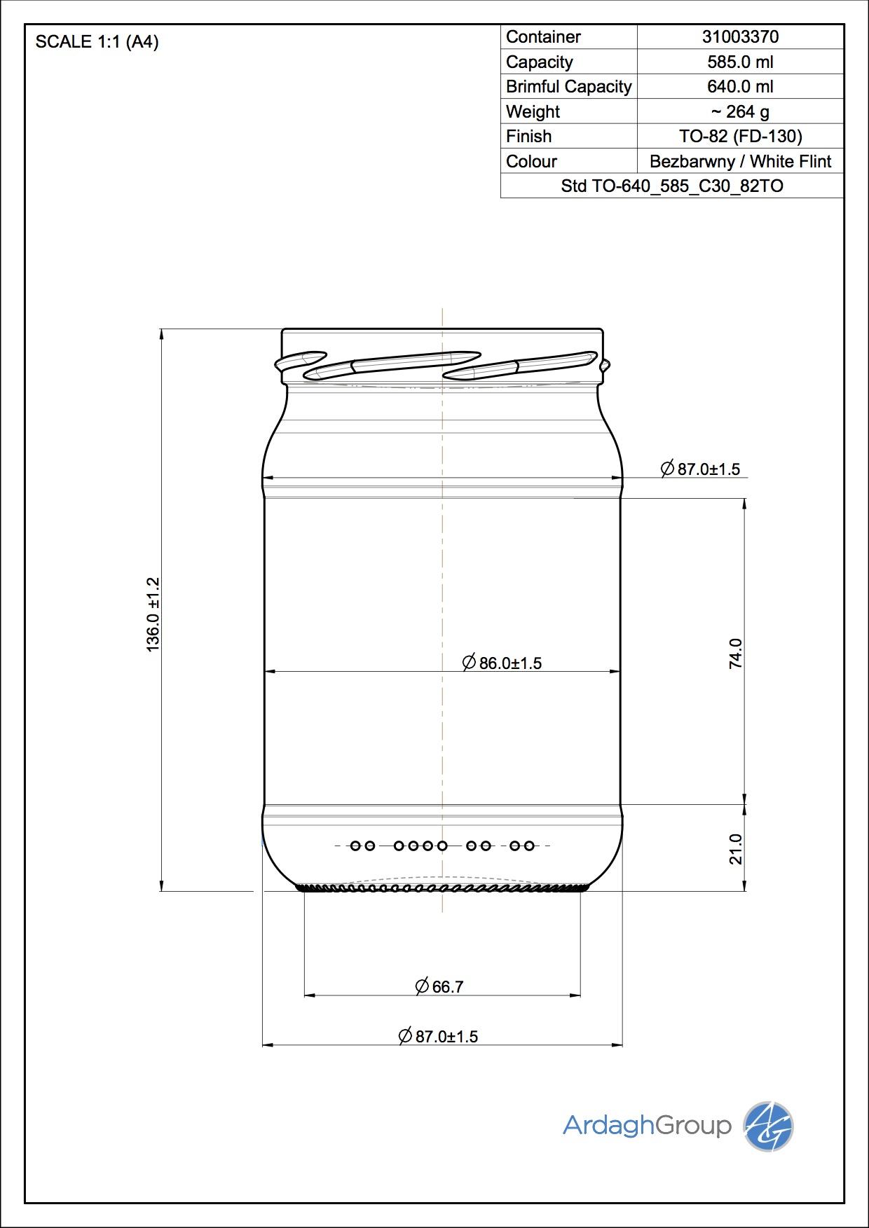 640ml flint glass food jar