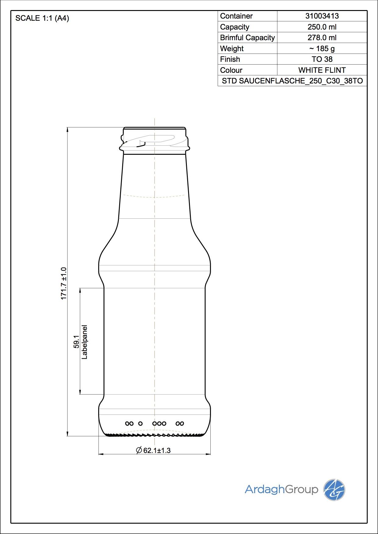 250ml flint glass Sauce oneway food bottle
