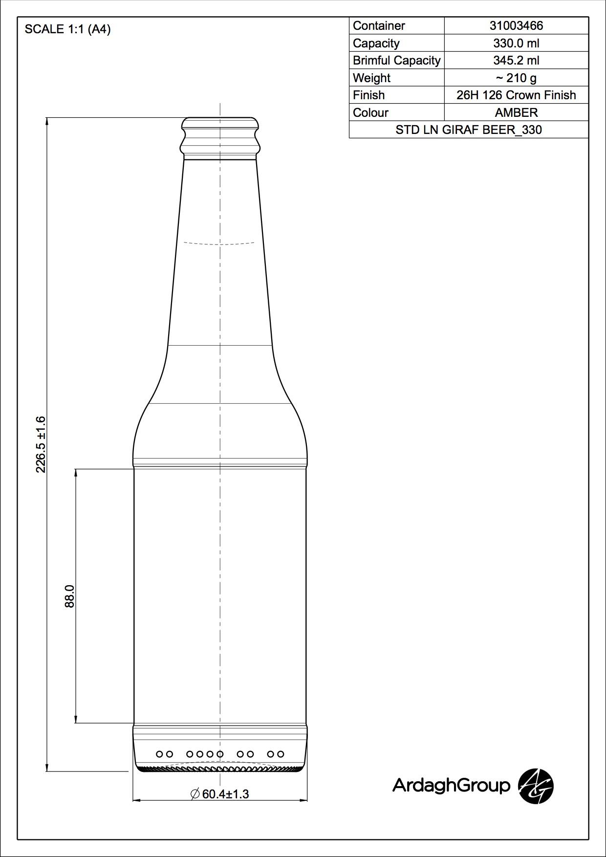 330ml amber glass Longneck Giraf oneway beer bottle