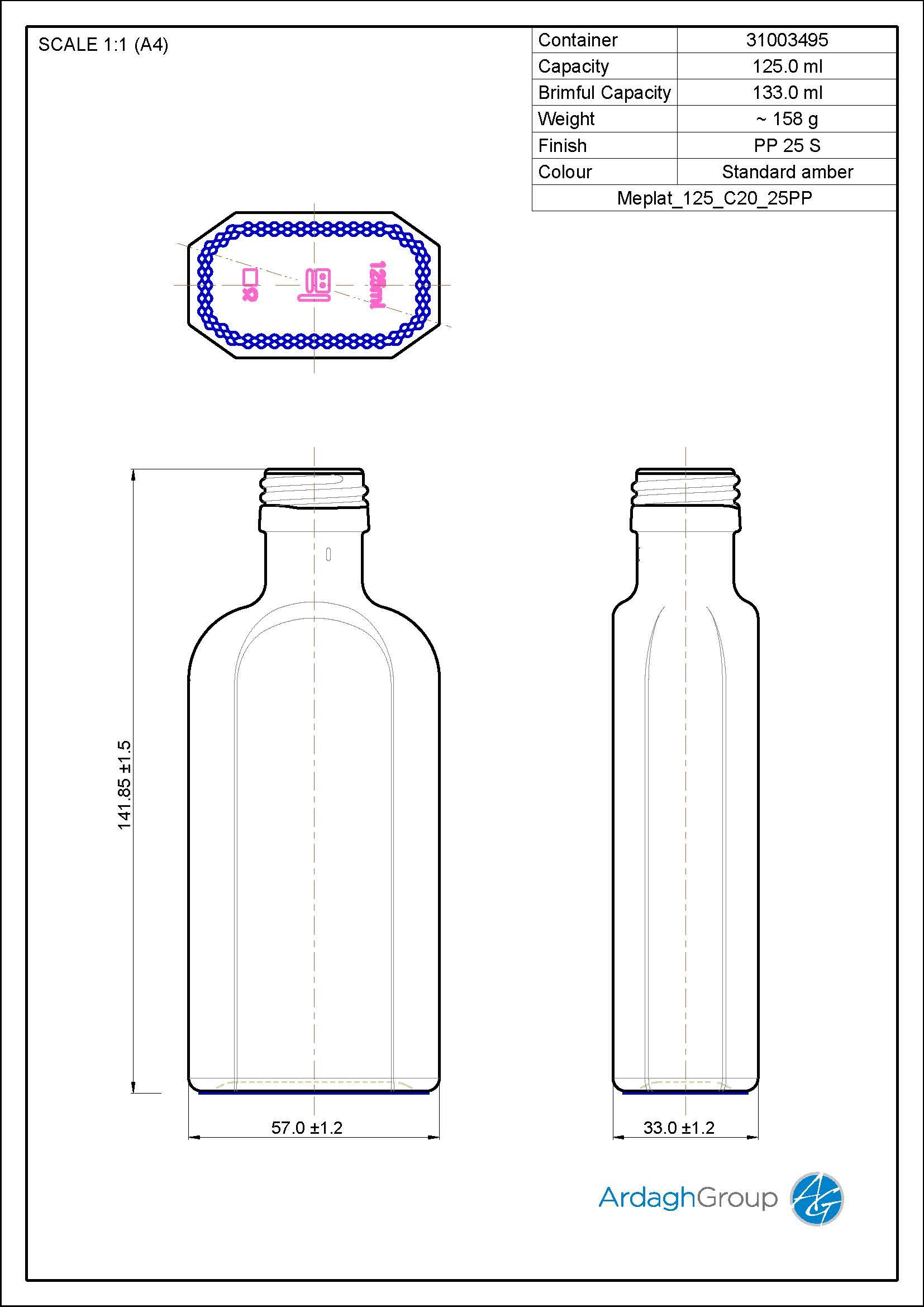 125ml amber glass meplat bottle