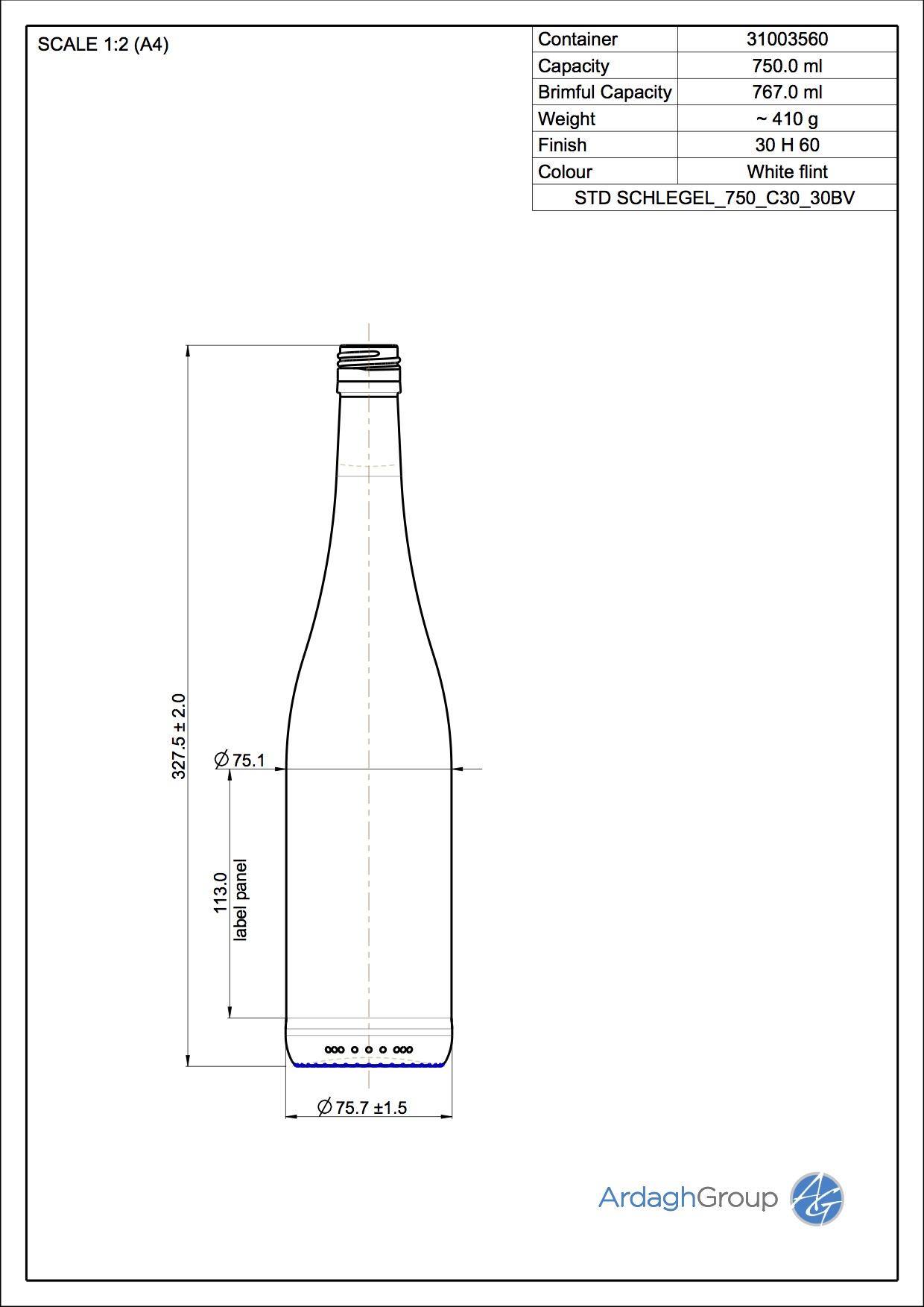 750ml flint glass Schlegel oneway wine bottle