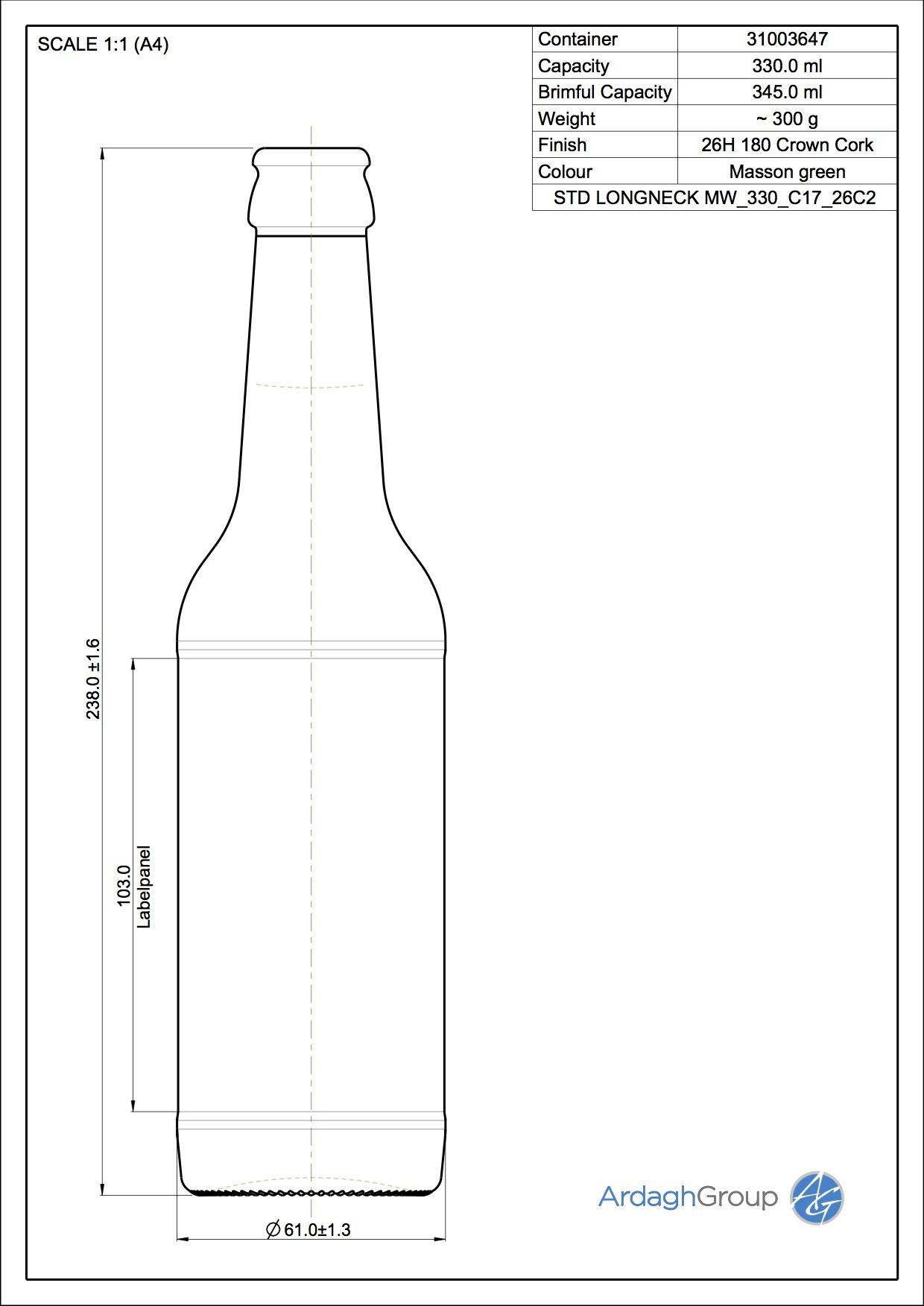 330ml Green Glass Longneck Returnable Beer Bottle 31003647