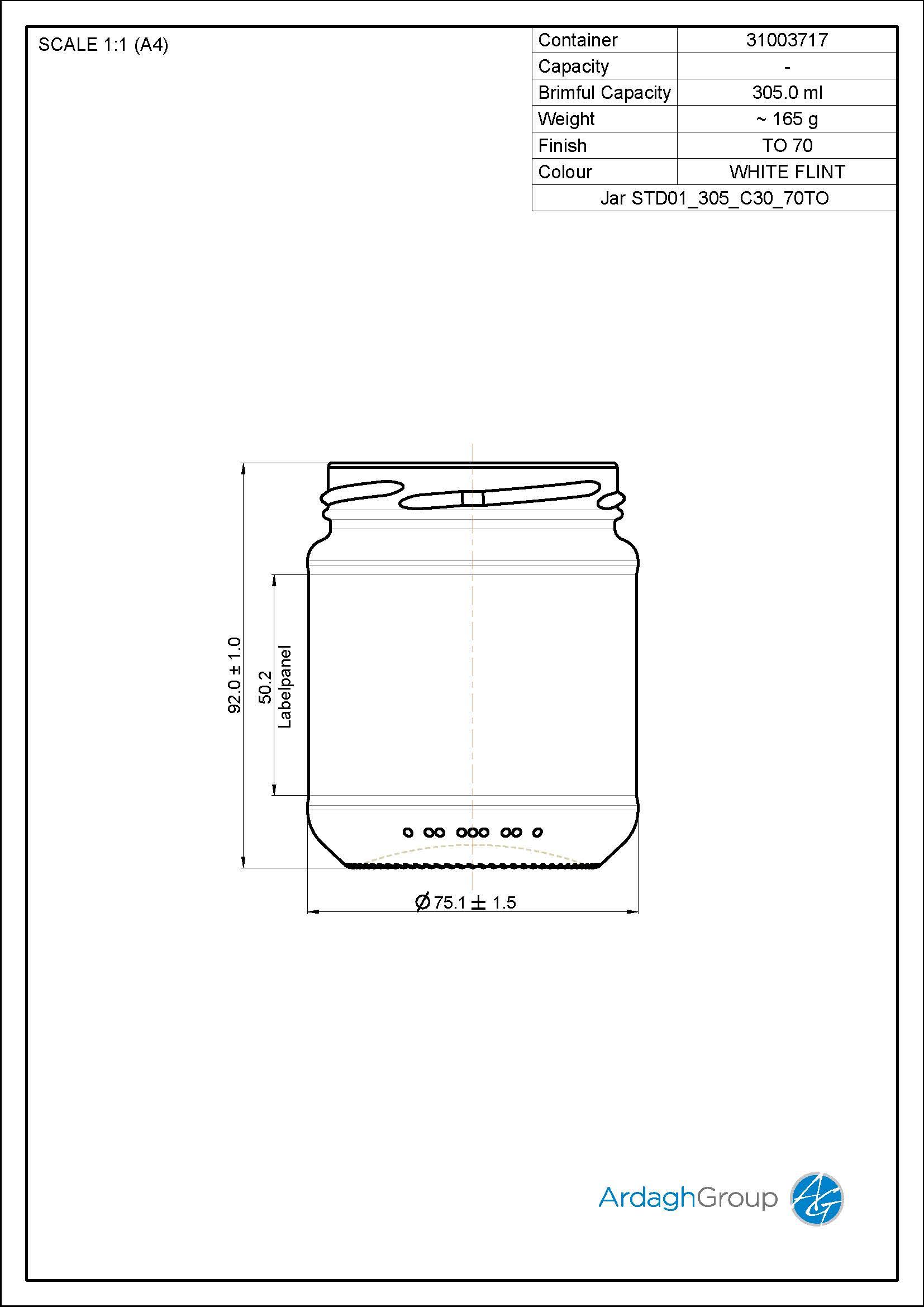 Jar STD01 305 C30 70TO