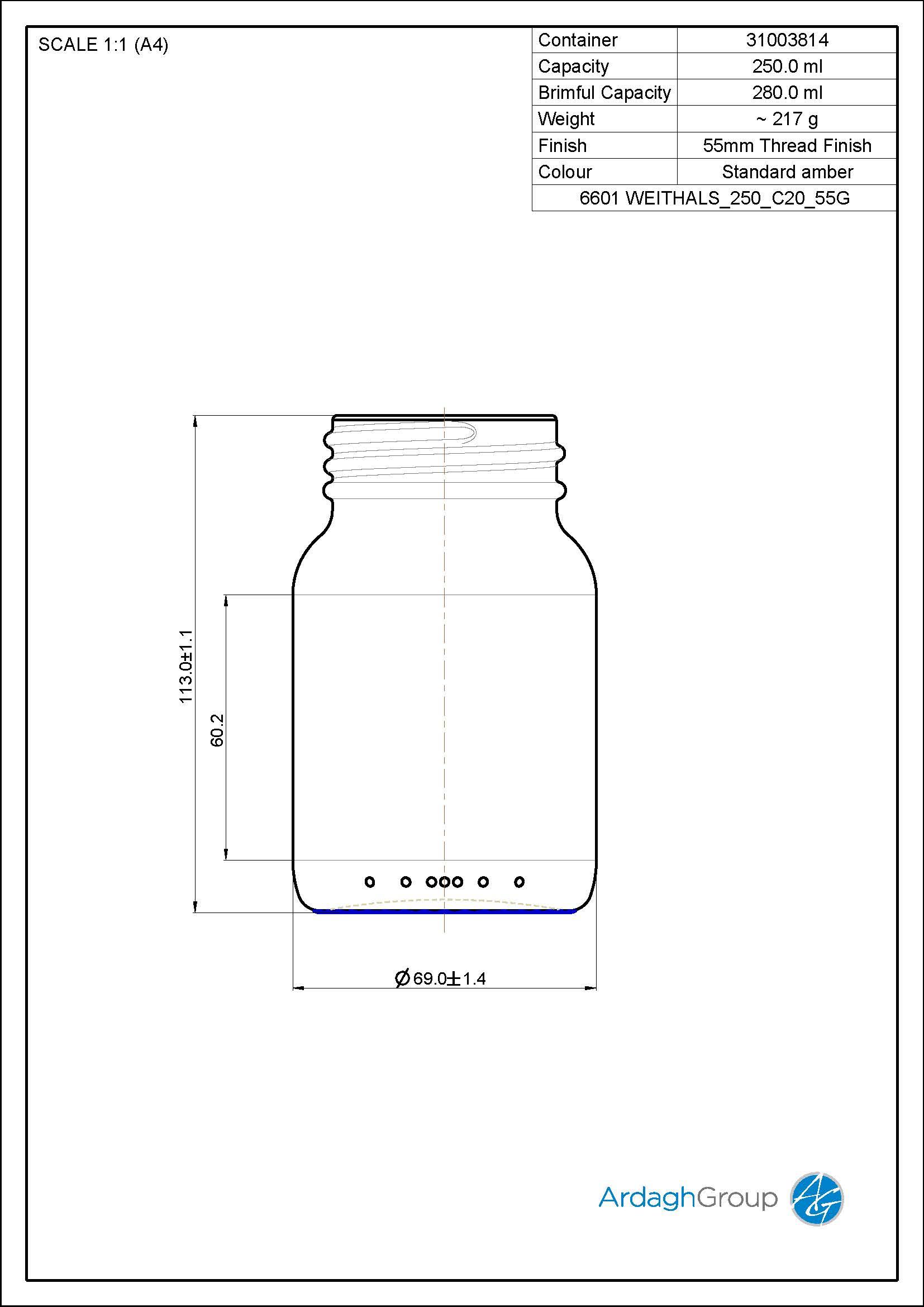 widemouth jar 250 ml