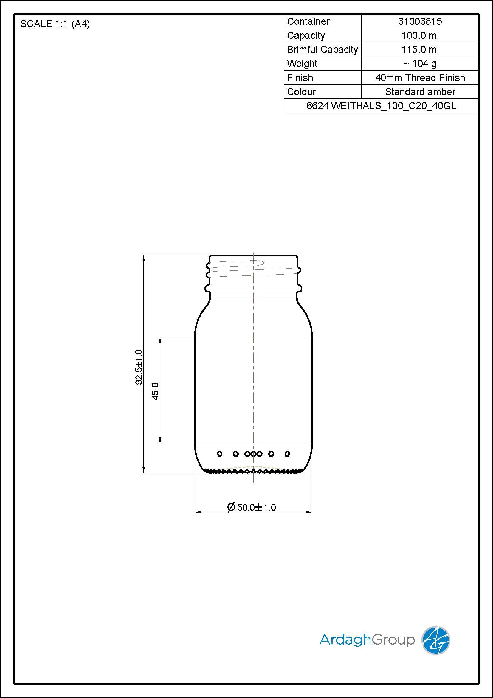 100ml amber glass widemouth jar