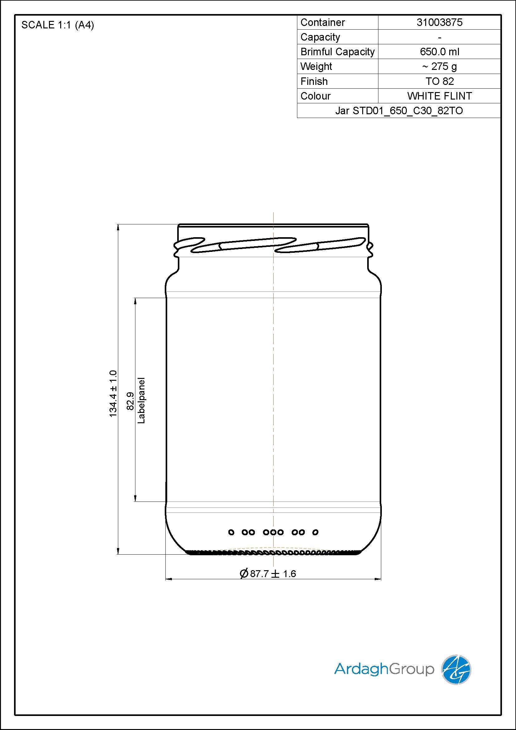 650ml Flint Glass Food Jar 31003875