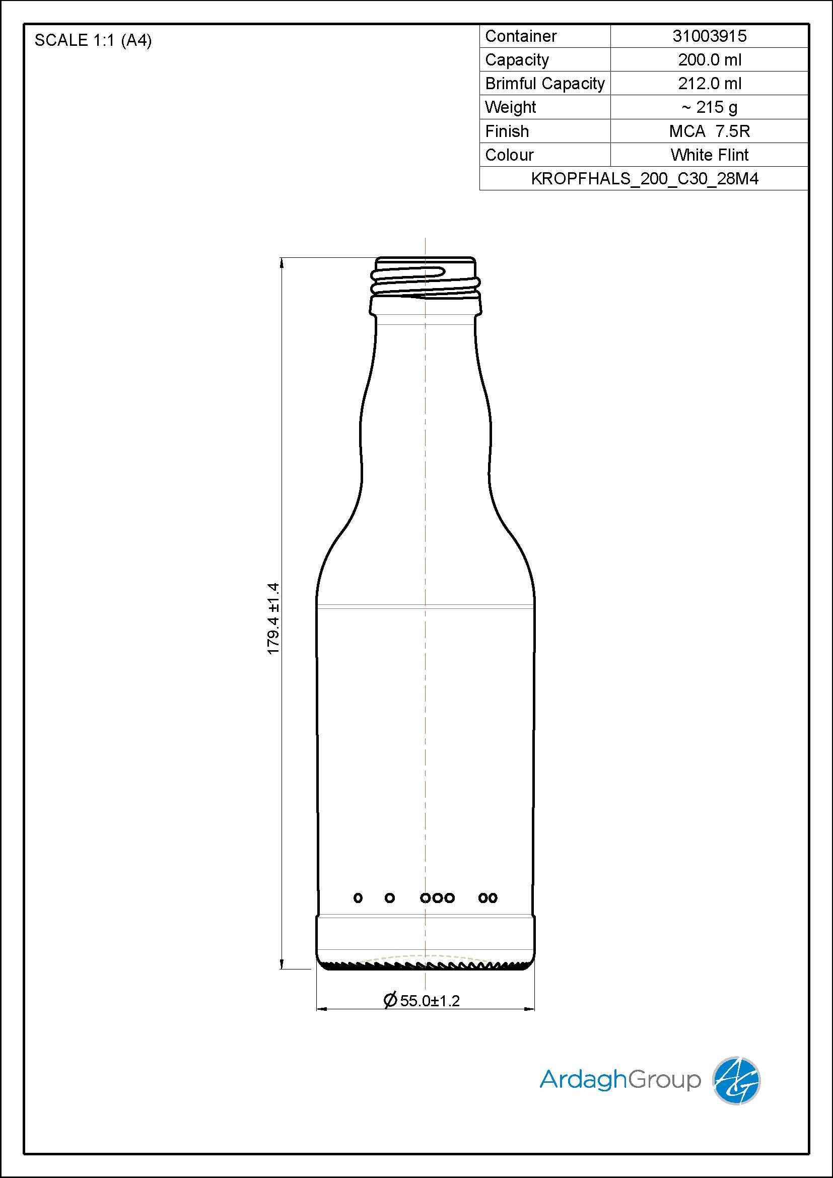 200ml Flint Glass Returnable NAB Bottle 31003915
