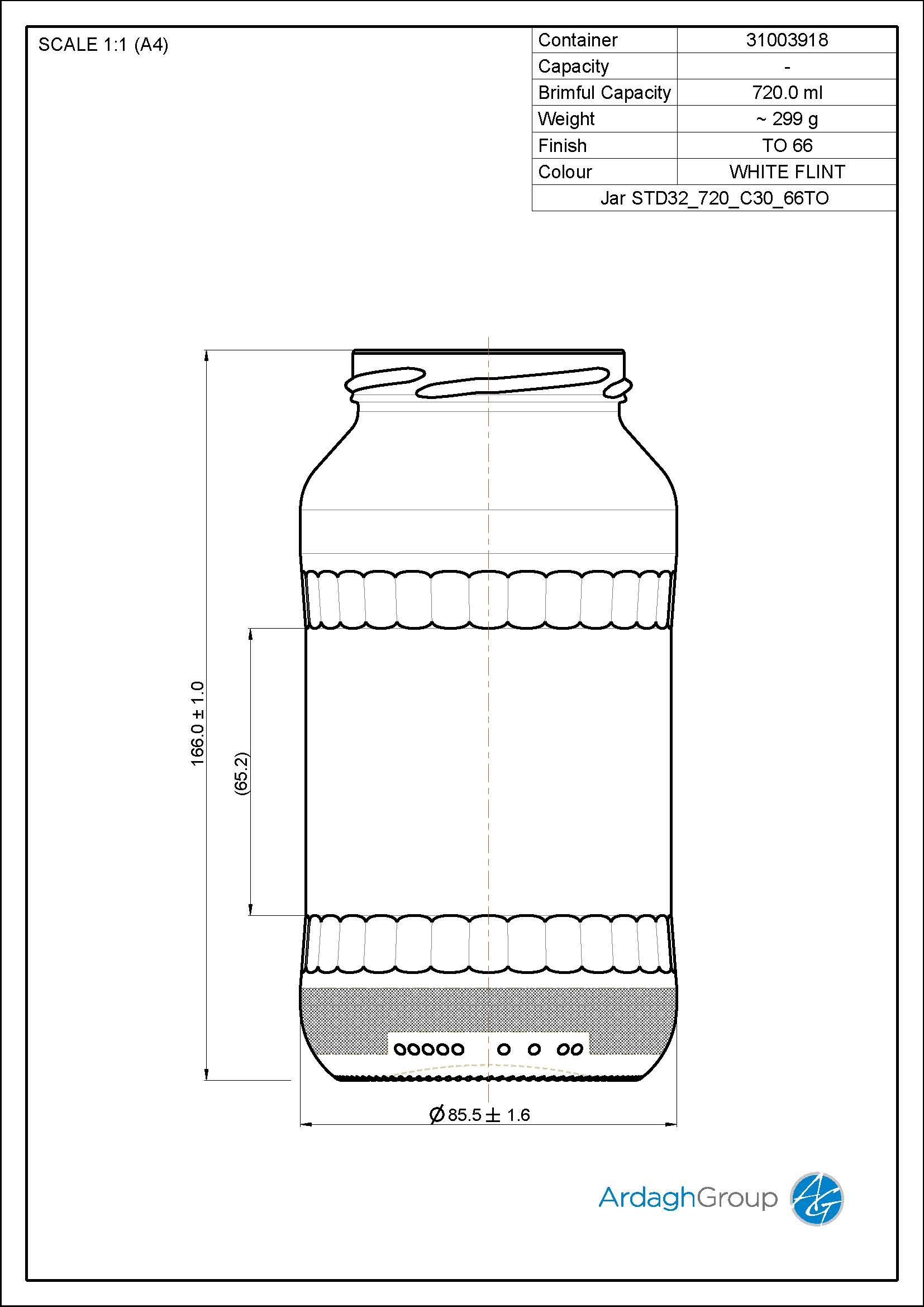 720ml Flint Glass Food Jar 31003918