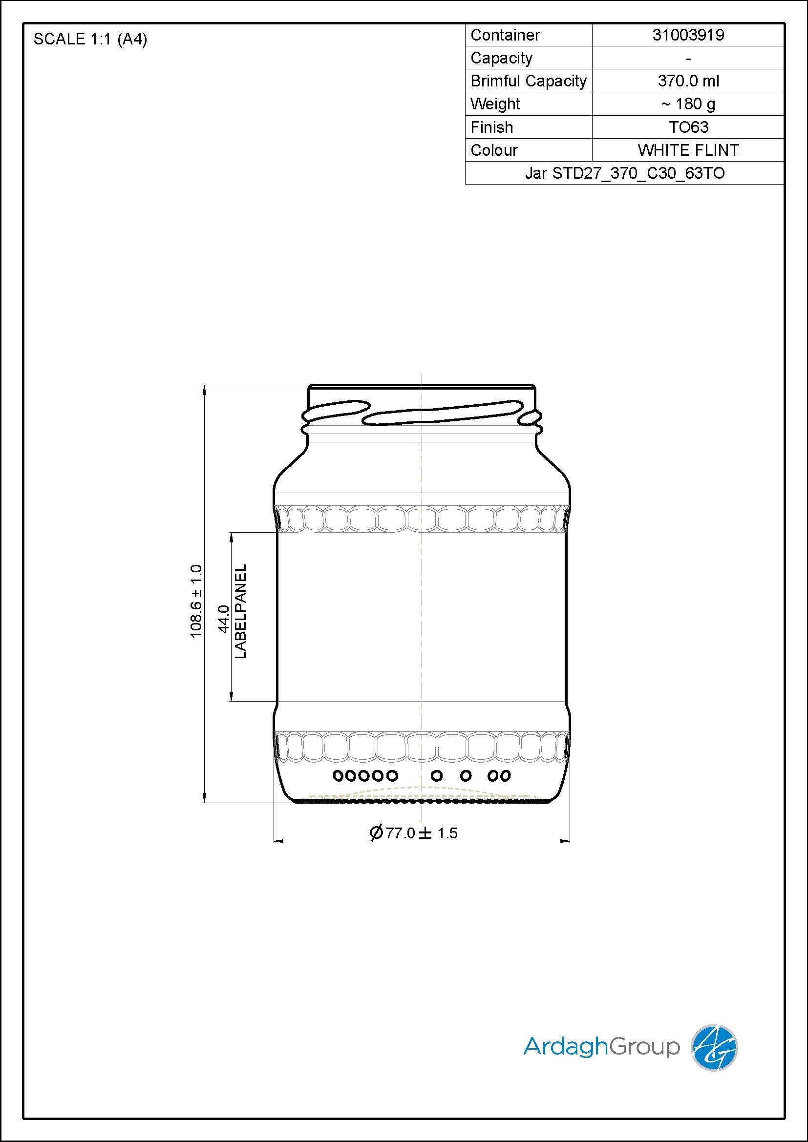 370ml Flint Glass Food Jar 31003919