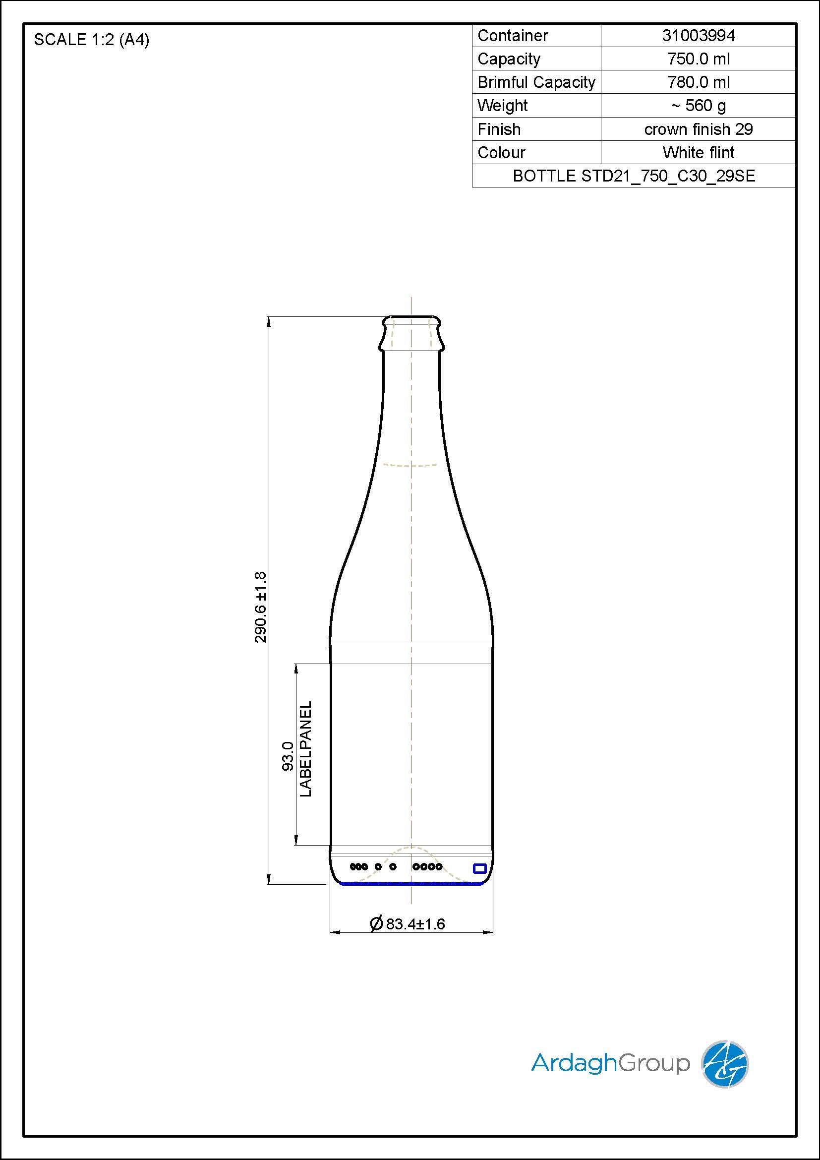 750ml Flint Glass Cider Bottle 31003994