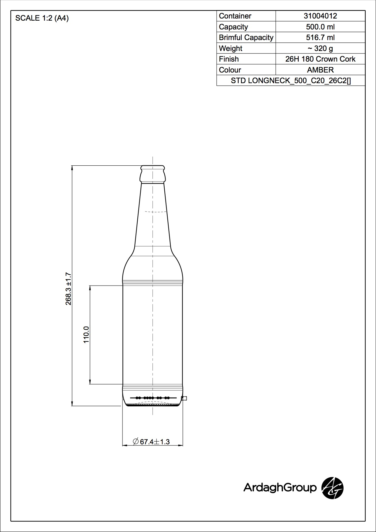 500ml Amber Glass Longneck Beer Bottle 31004012