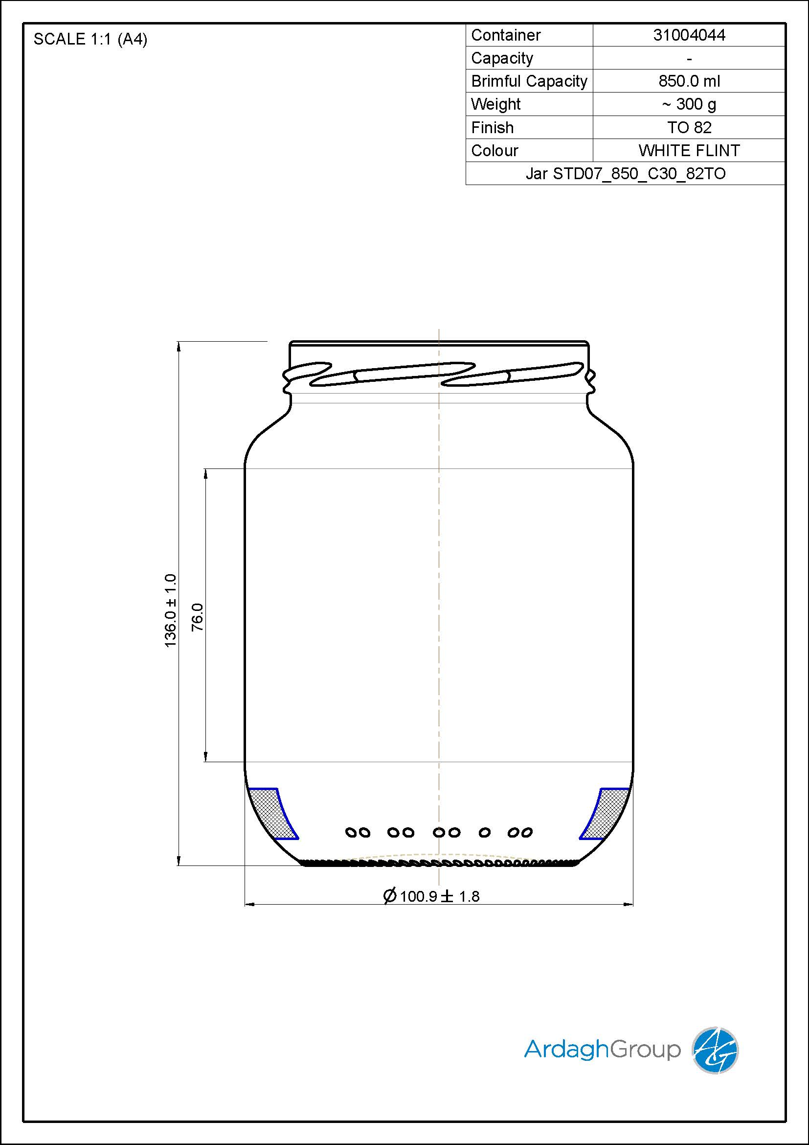 Jar STD07 850 C30 82TO