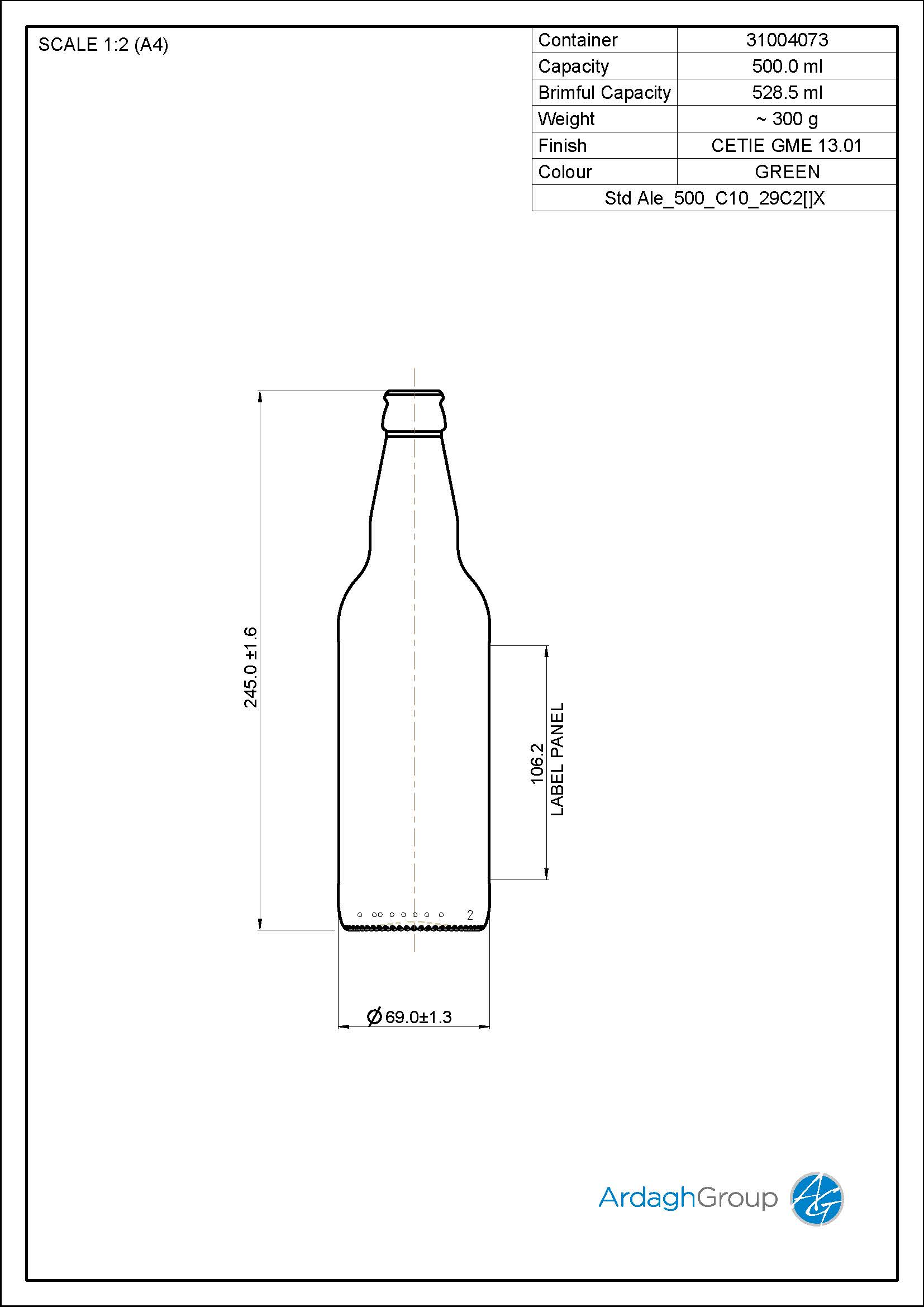 500ml green glass Ale oneway beer bottle
