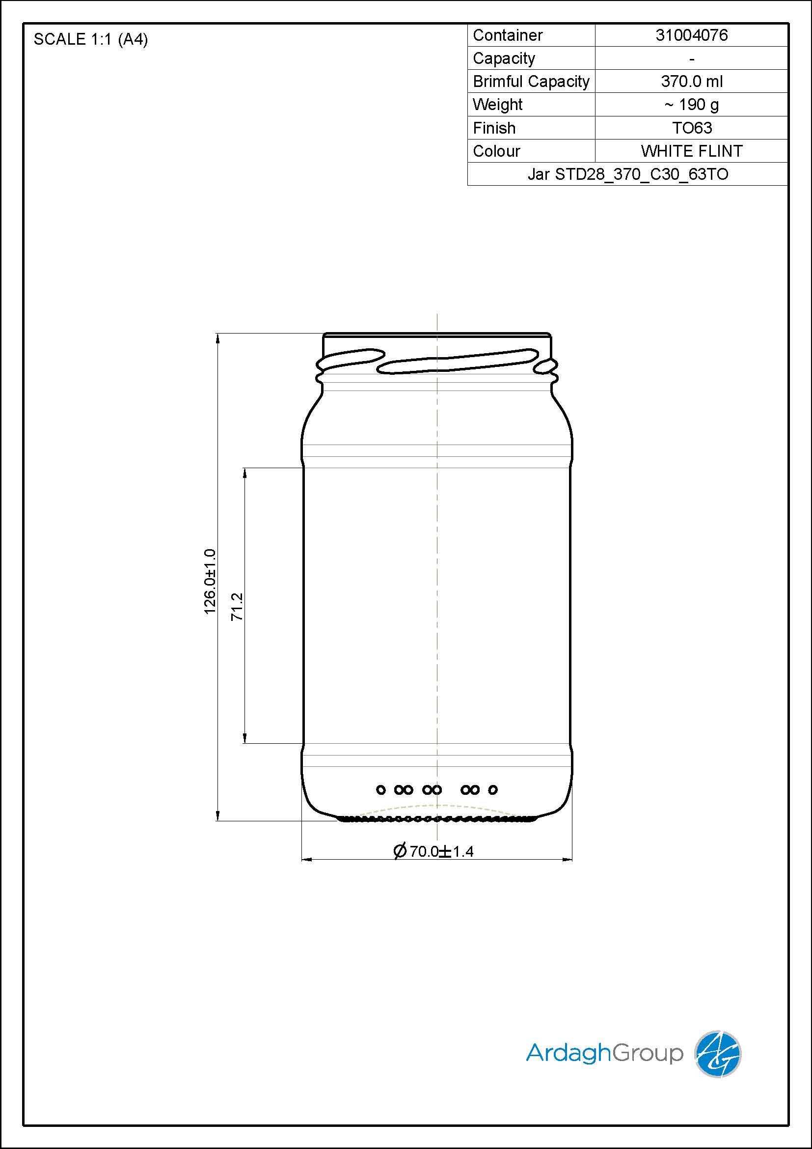 370ml Flint Glass Food Jar 31004076