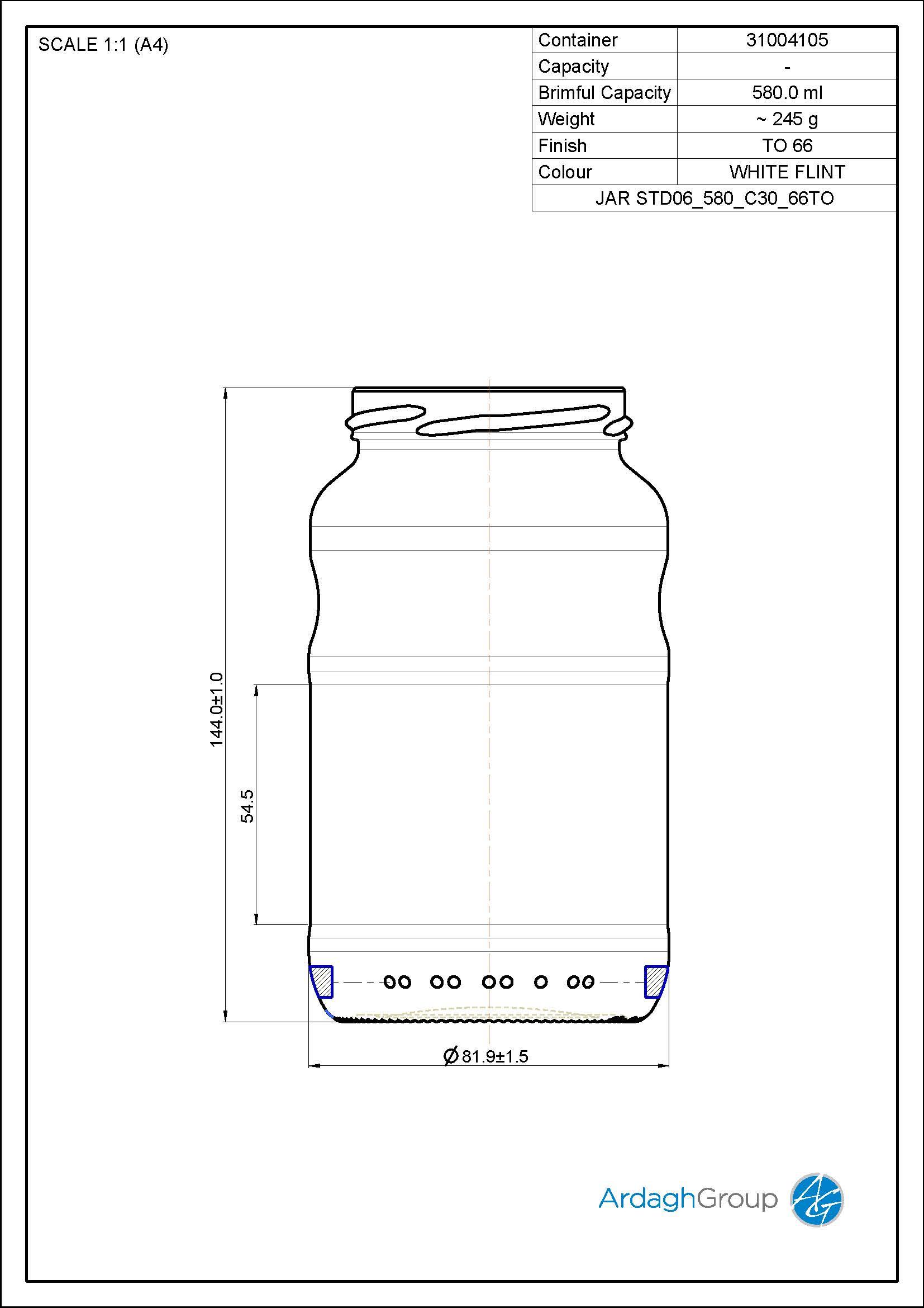 Jar STD06 580 C30 66TO