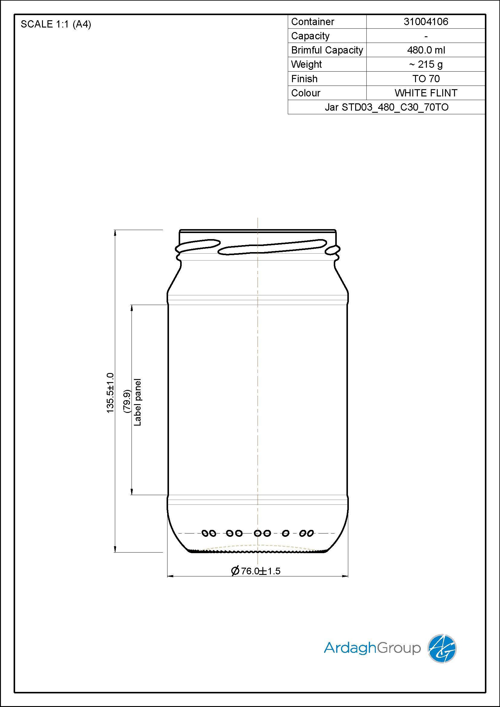 480ml Flint Glass Food Jar 31004106