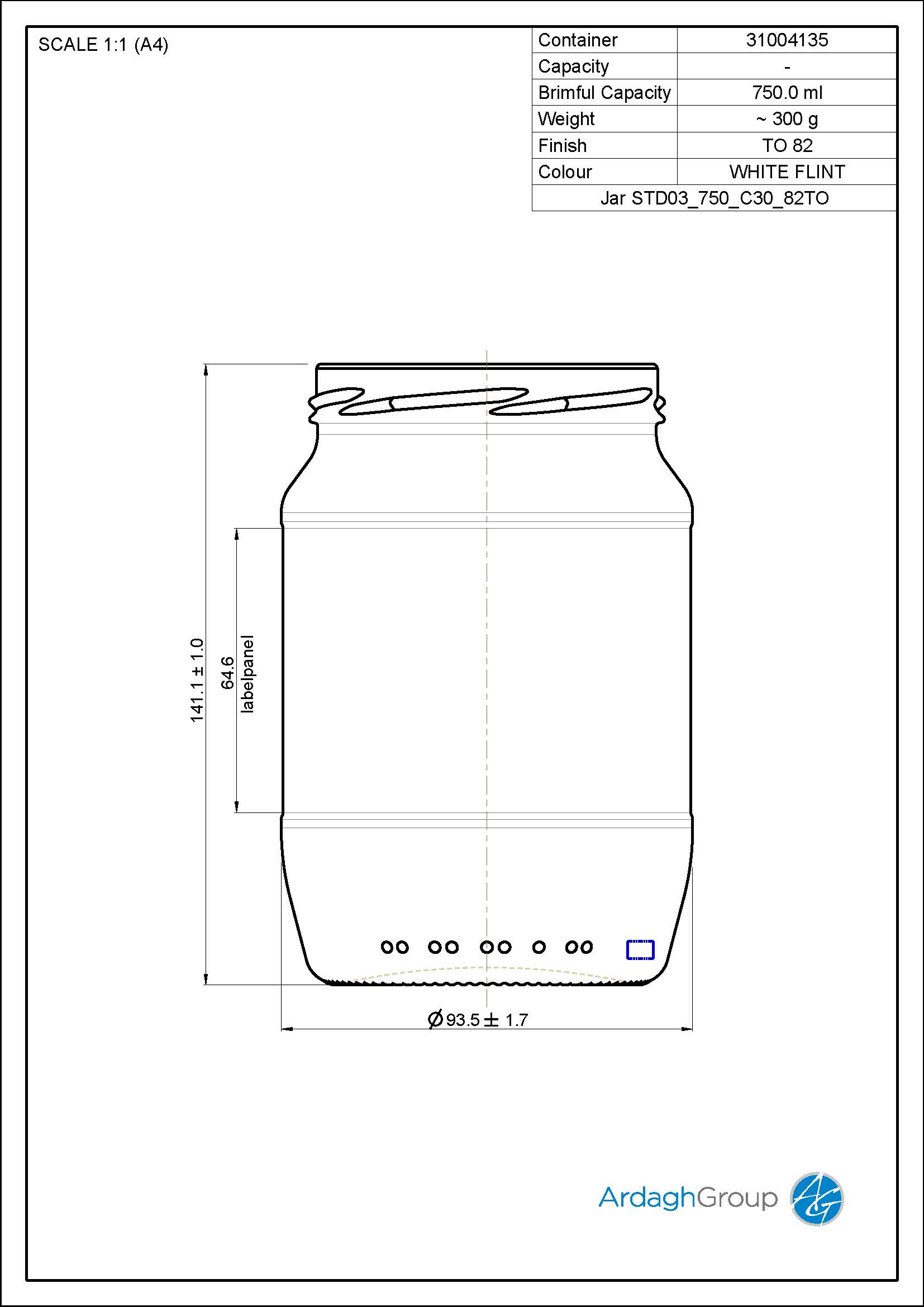 Jar STD03 750 C30 82TO