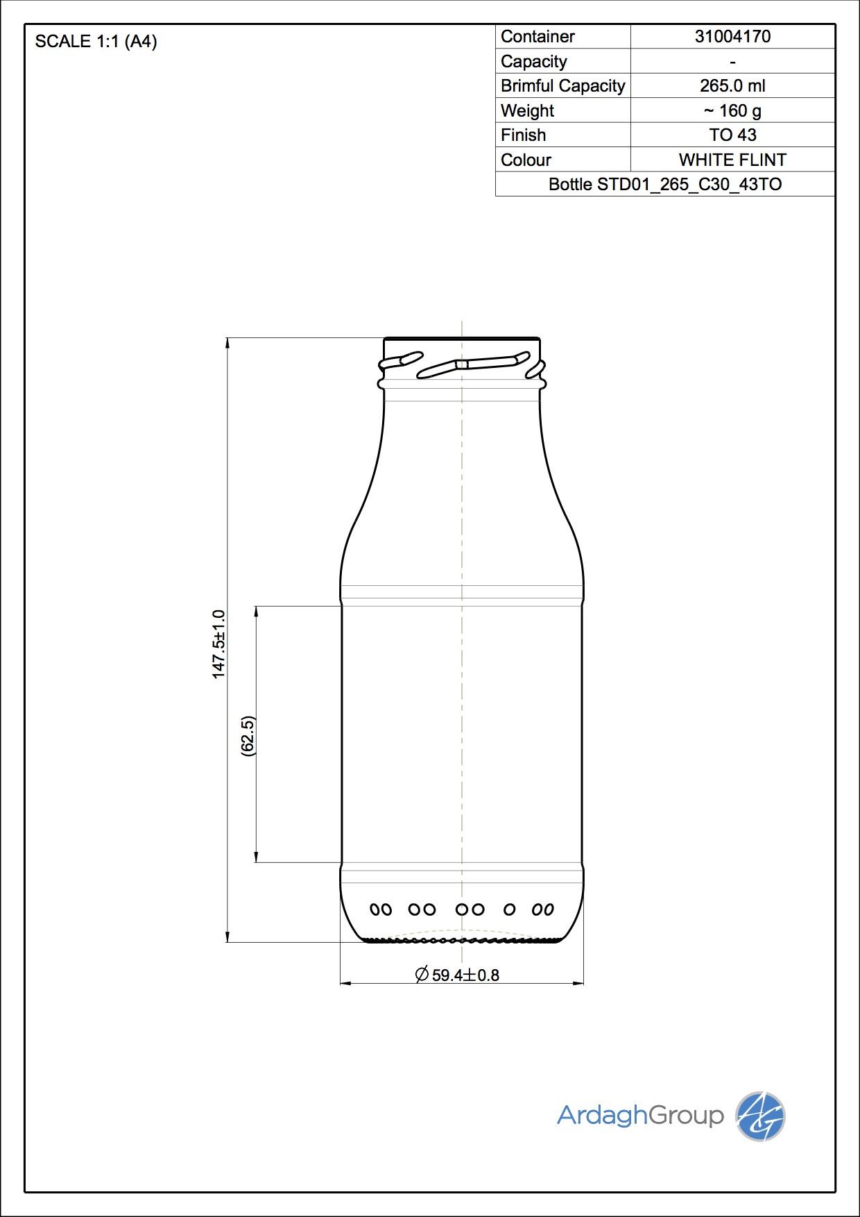 263ml flint glass oneway food bottle