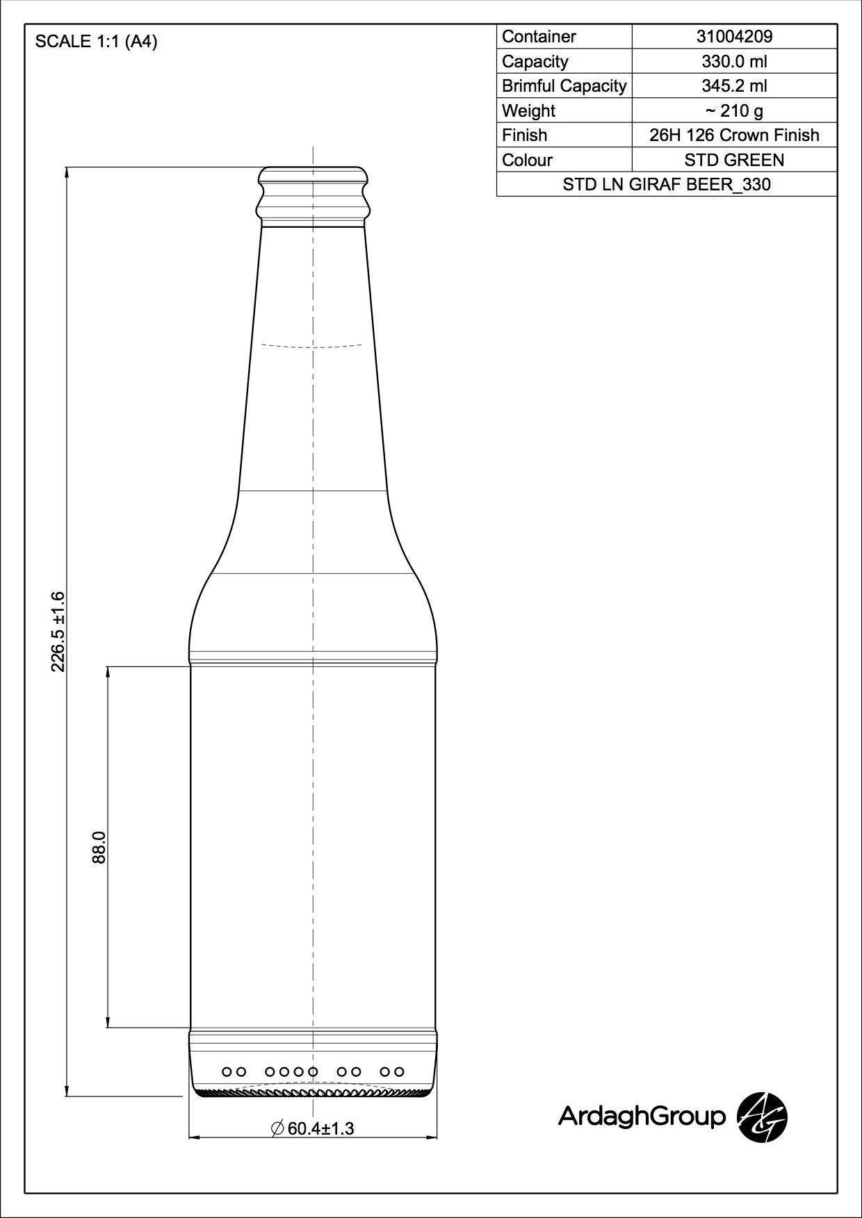 330ml green glass Longneck Giraf oneway beer bottle