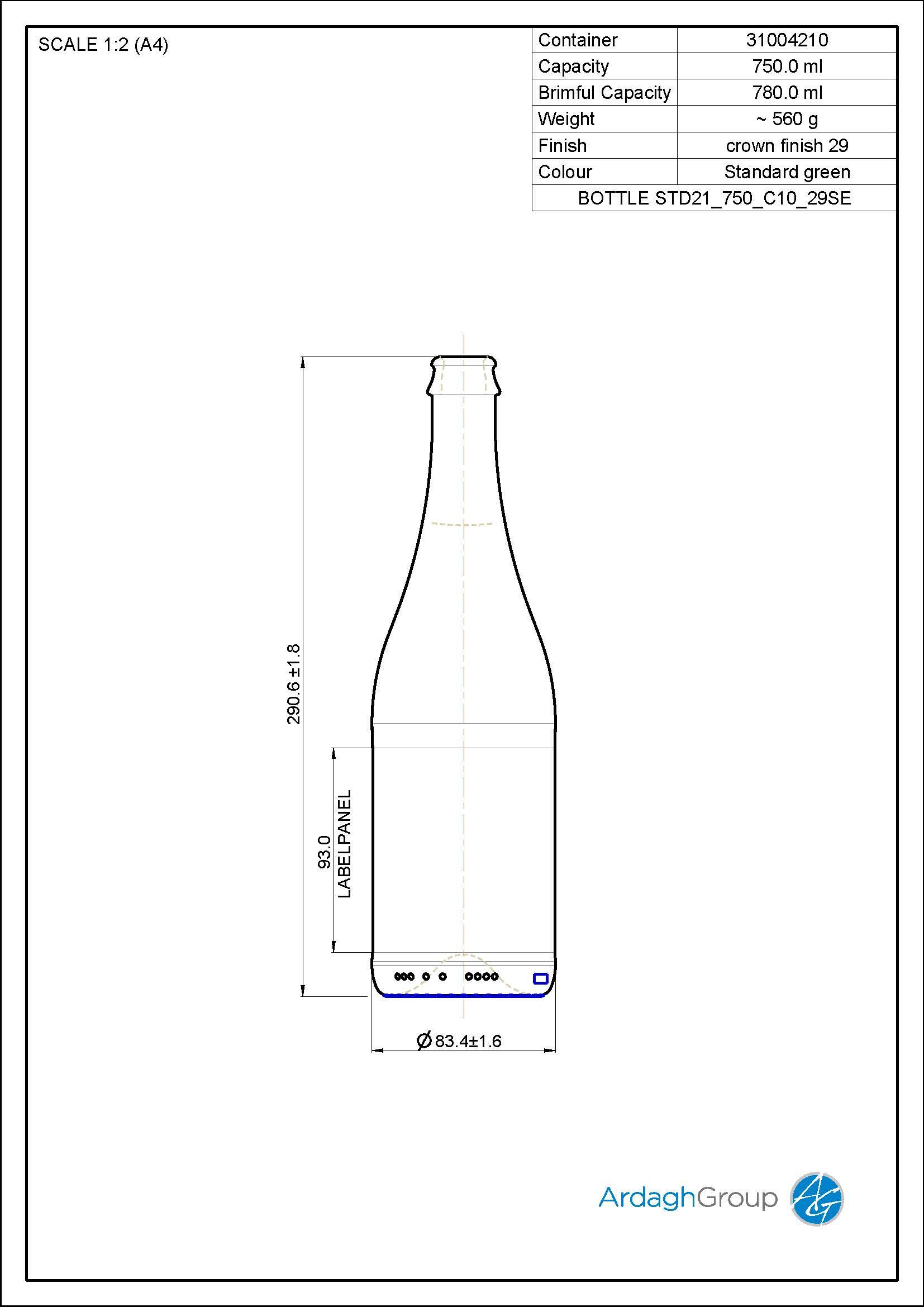 750ml Green Glass Cider Bottle 31004210