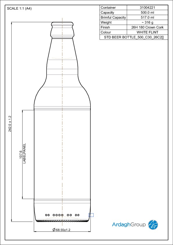 STD BEER BOTTLE 500 C30 26C2