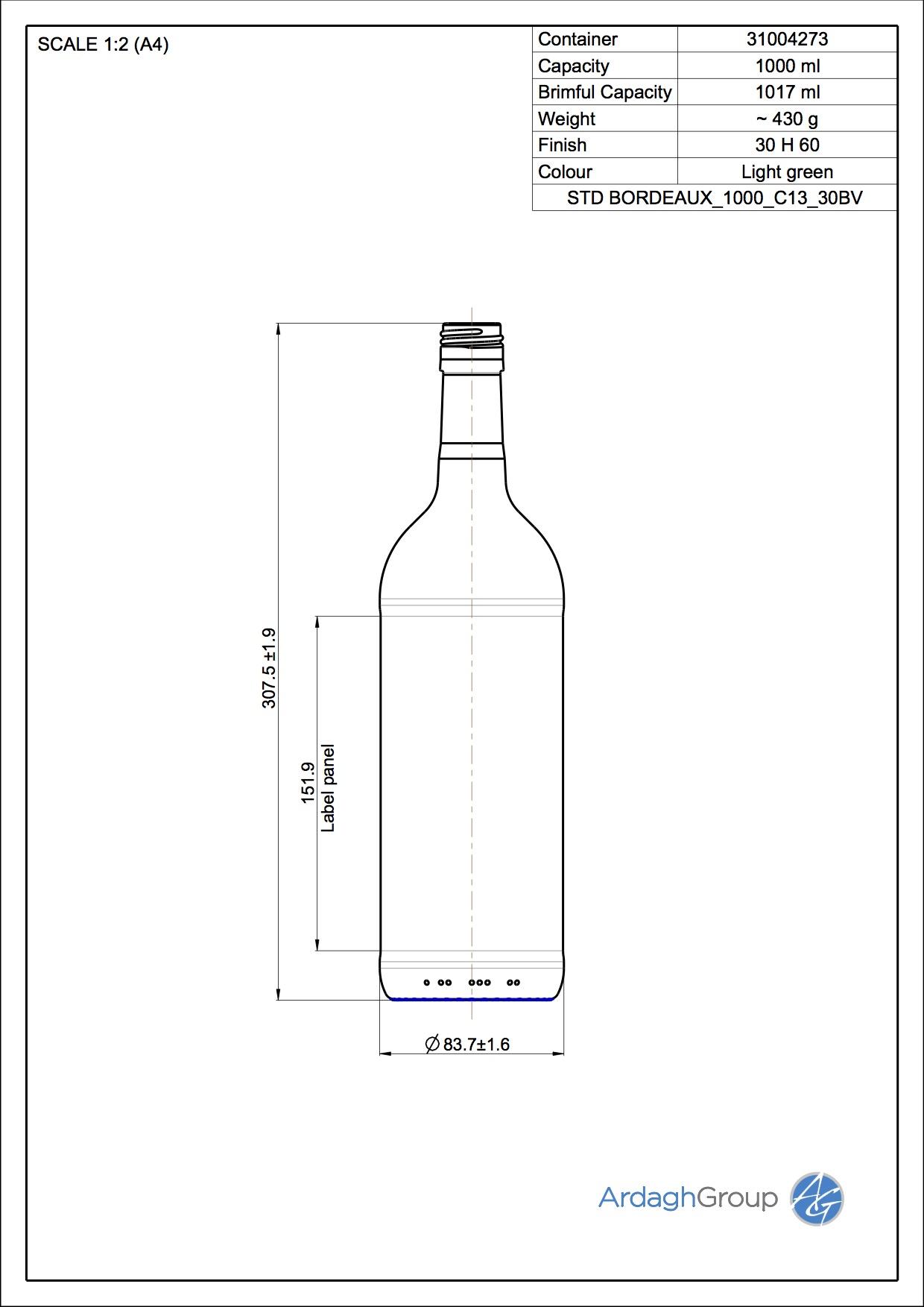 1000ml green glass Bordeaux oneway wine bottle