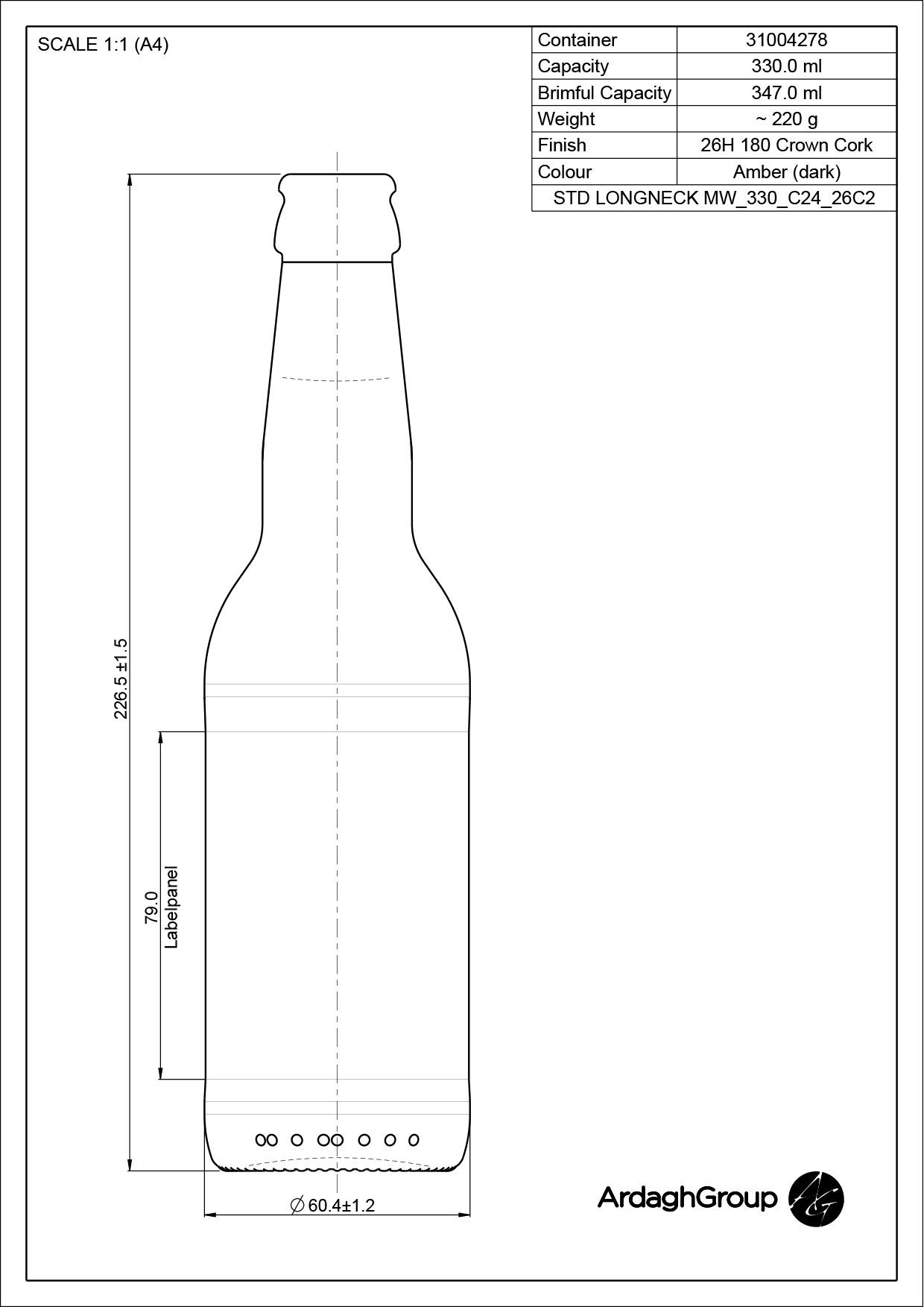 330ml amber glass Longneck oneway beer bottle