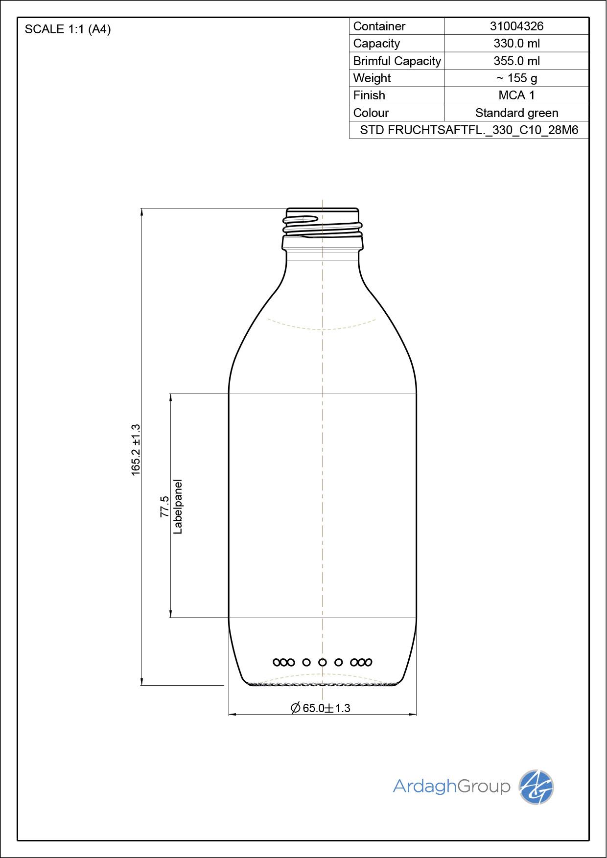 330ml green glass oneway Juice NAB bottle