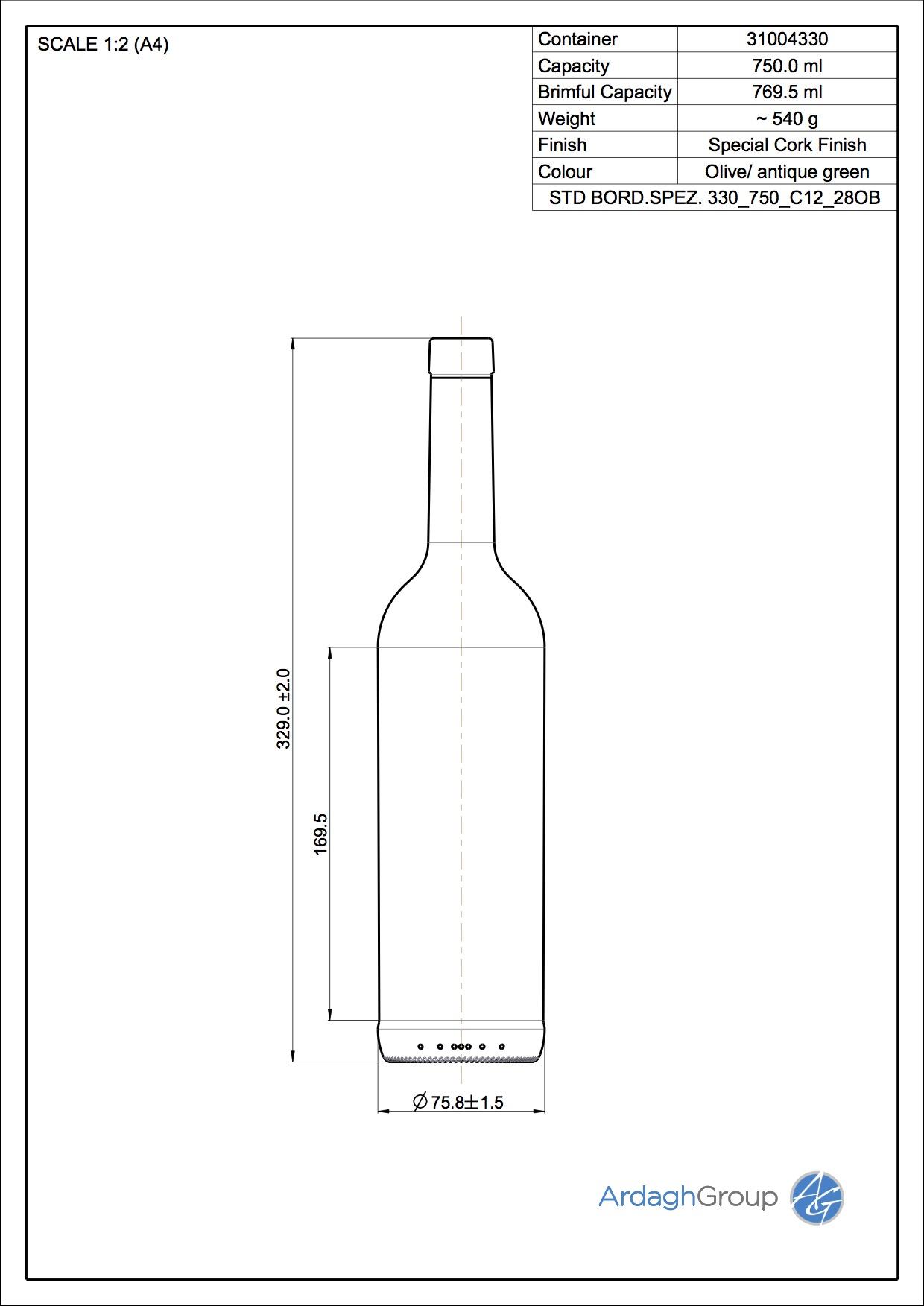 750ml green glass Bord Spez oneway wine bottle