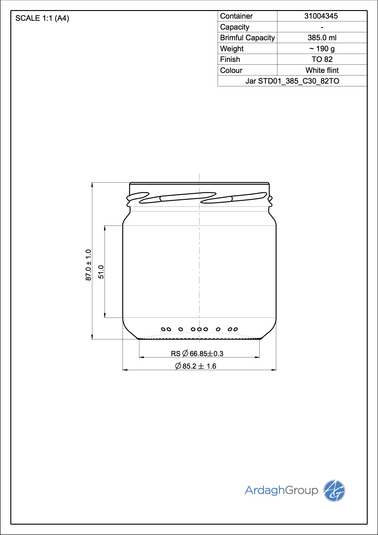 Jar STD01 385 C30 82TO
