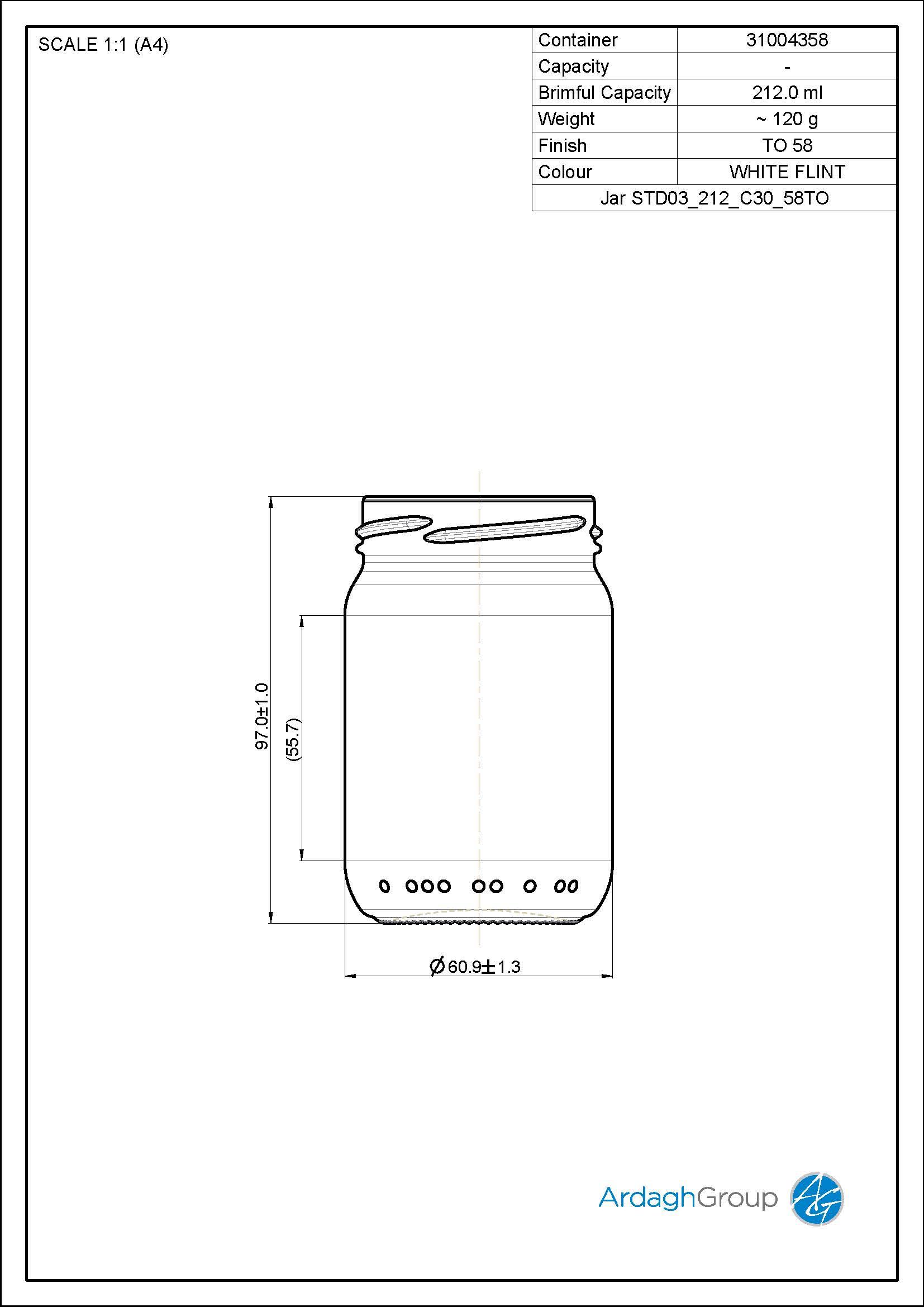 Jar STD03 212 C30 58TO