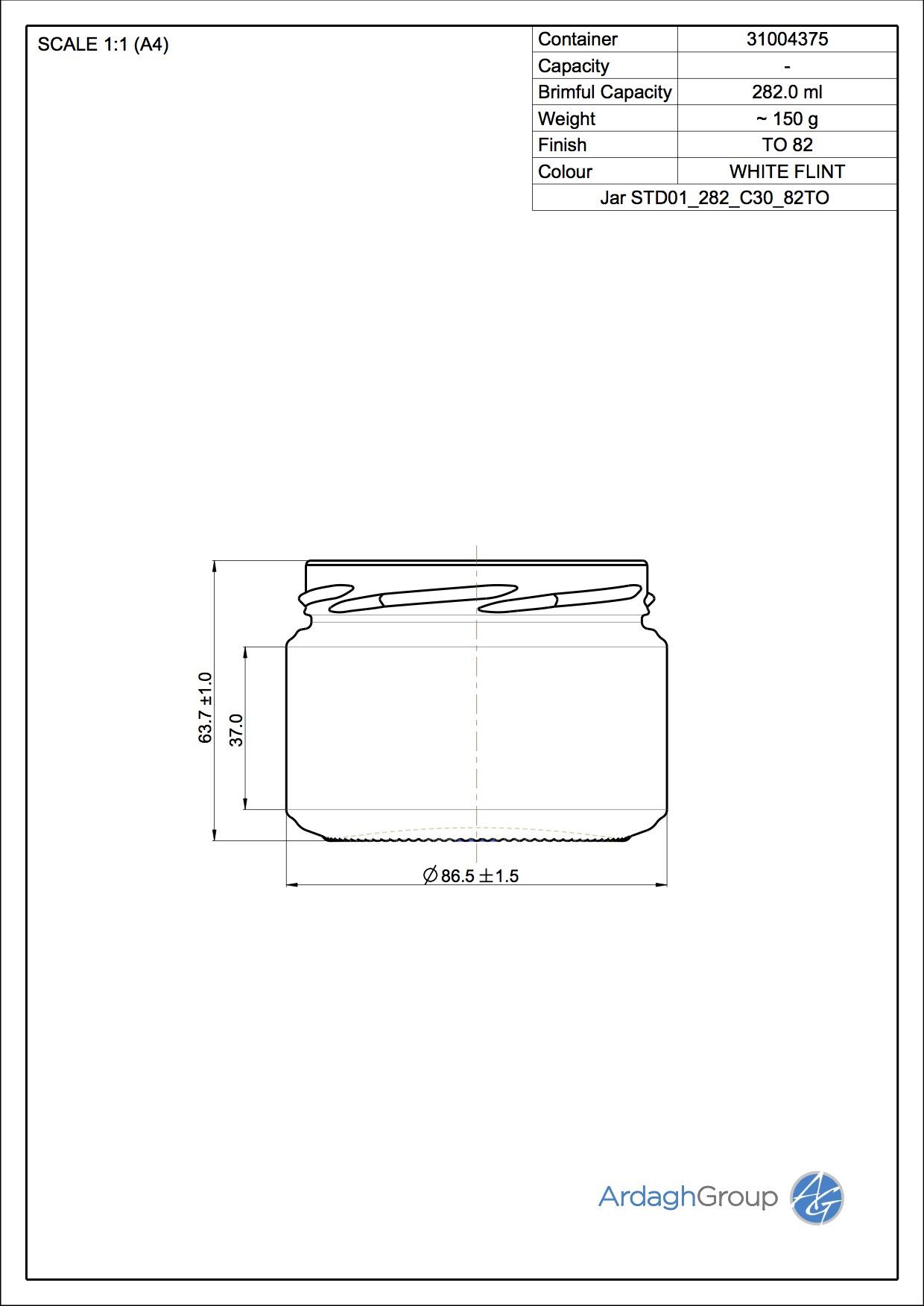 Jar STD01 282 C30 82TO