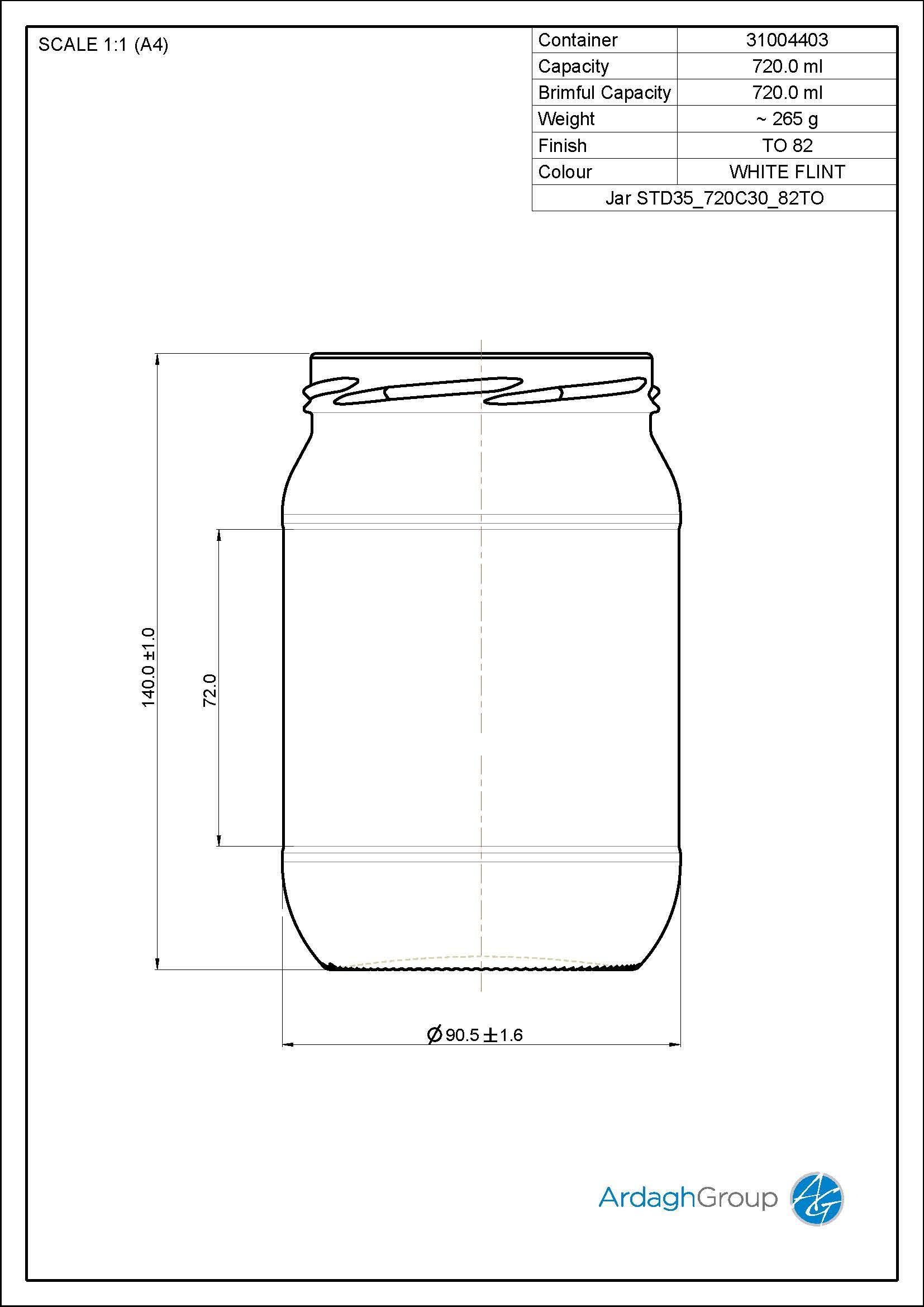 720ml Flint Glass Food Jar 31004403