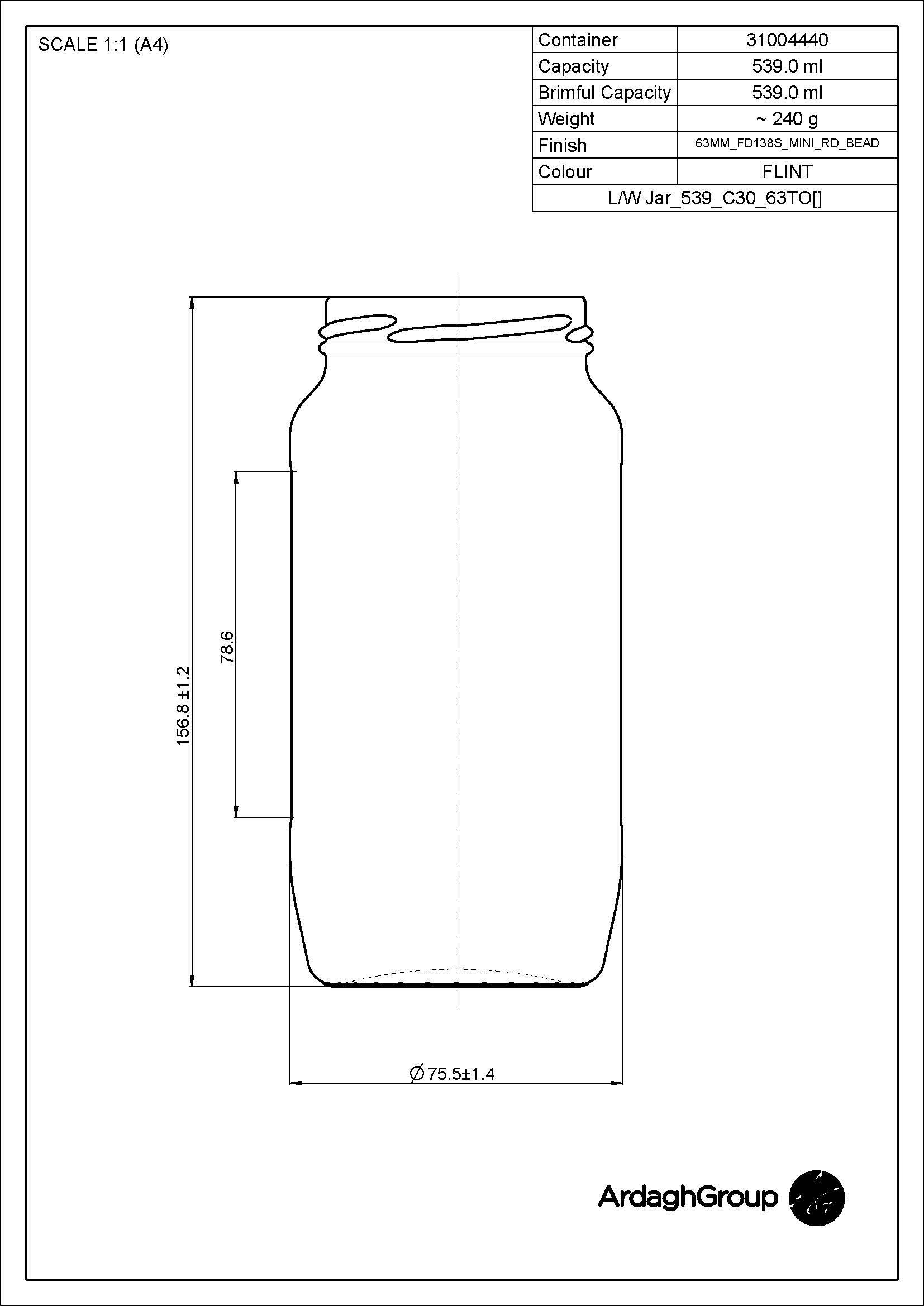 539ml Flint Glass Food Jar 31004440