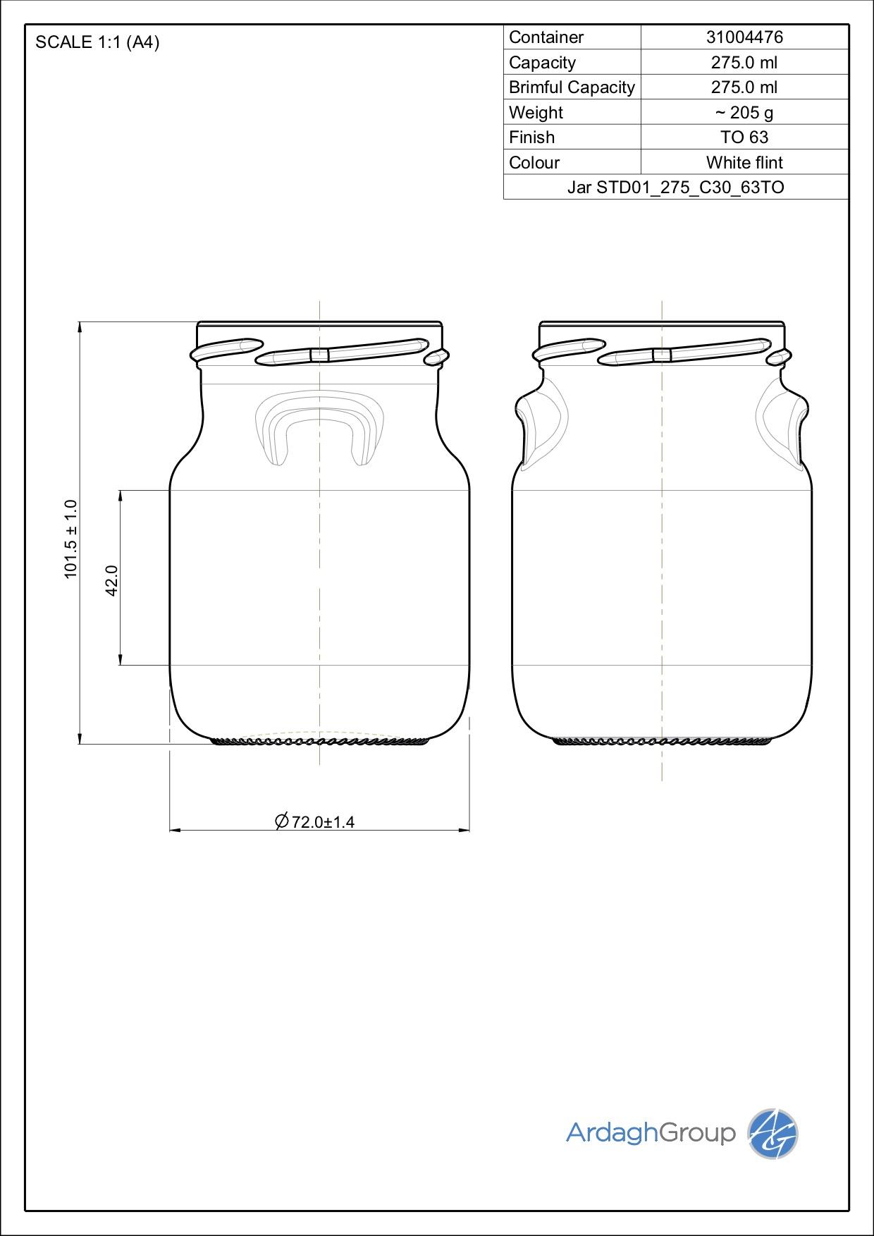 275ml flint glass food jar