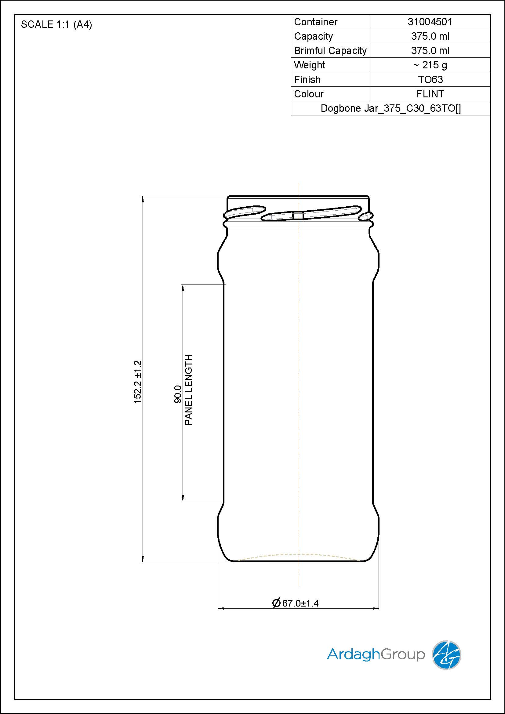 375ml Flint Glass Food Jar 31004501