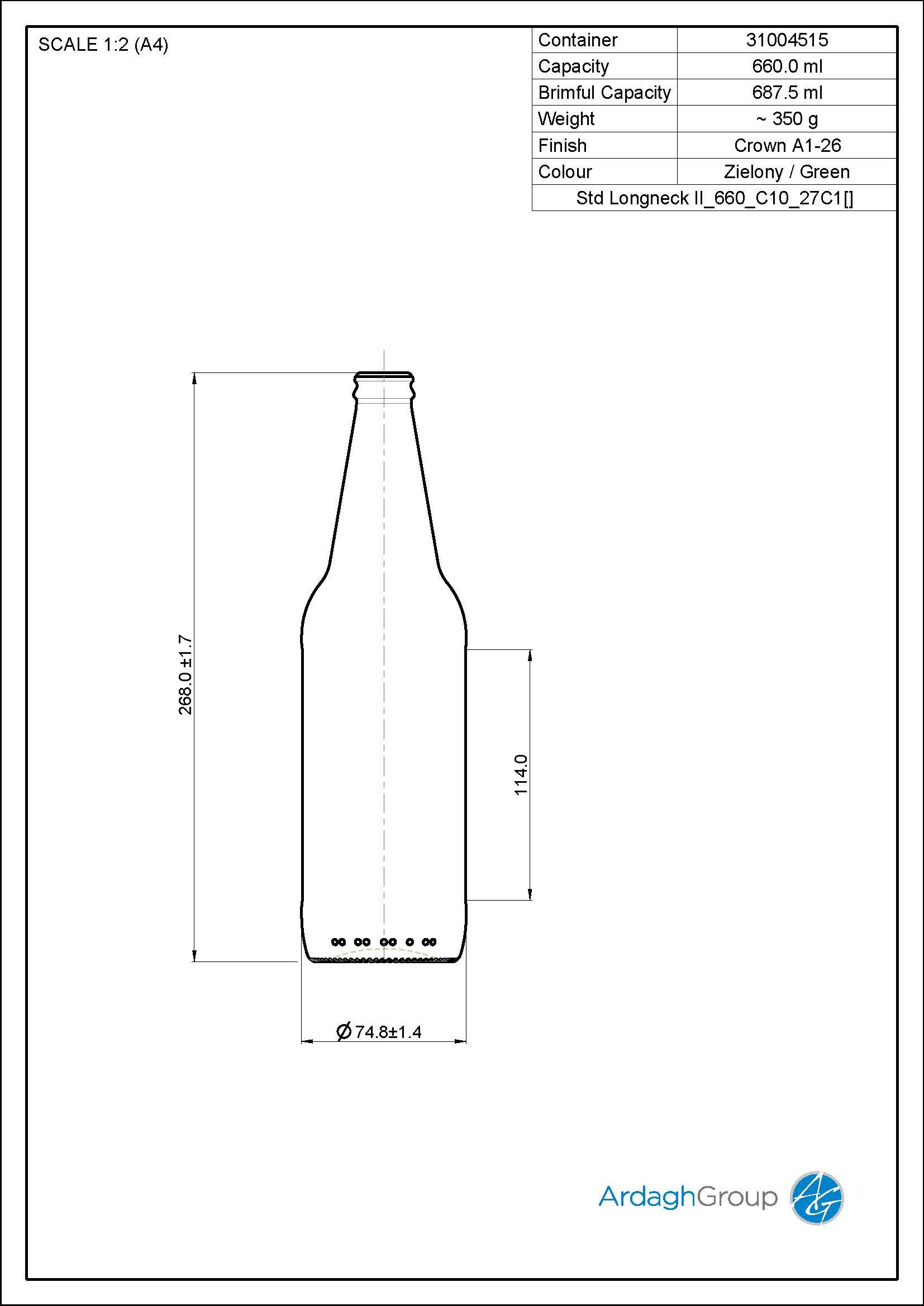 660ml green glass Longneck returnable beer bottle