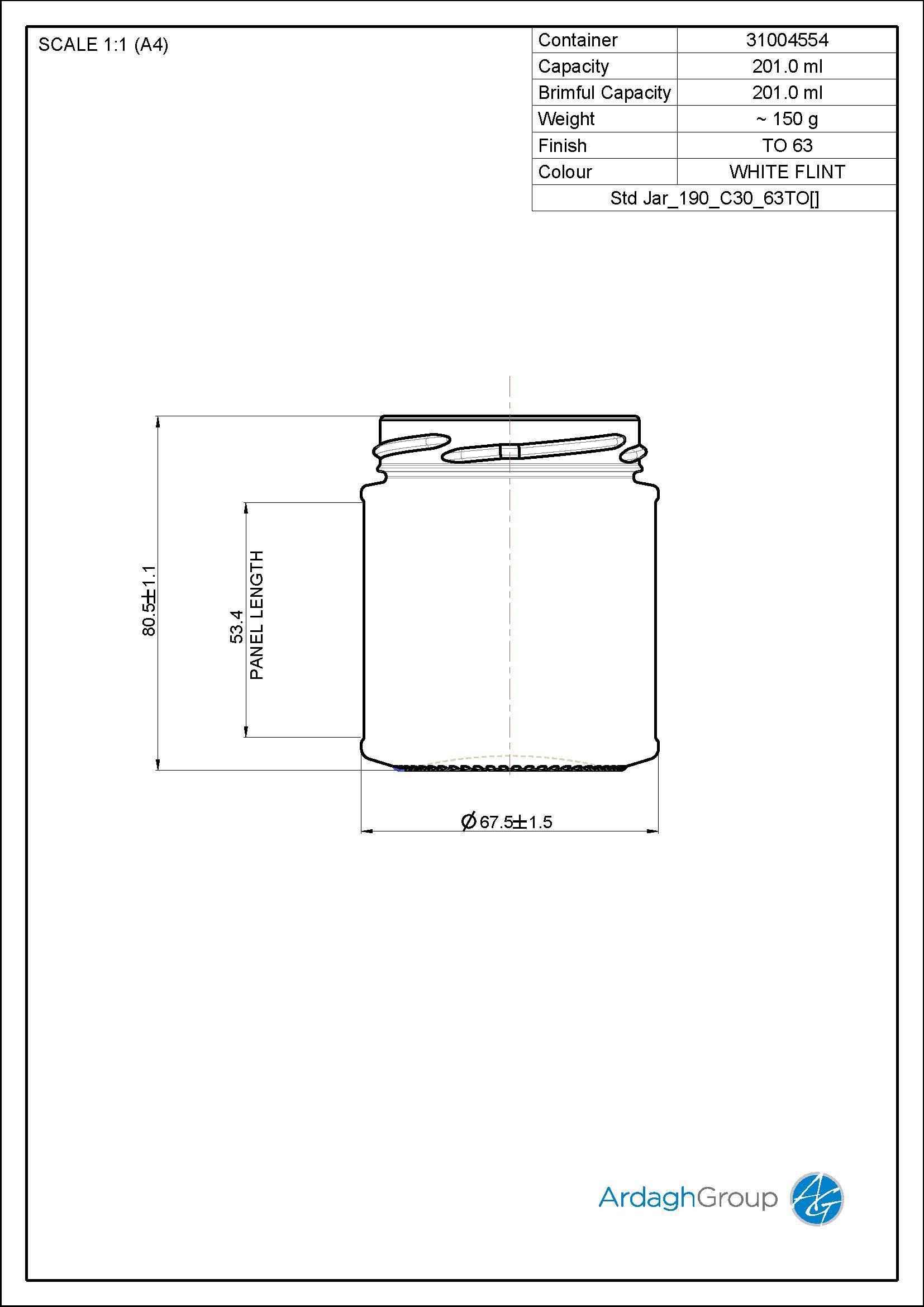 190ml Panel Jar