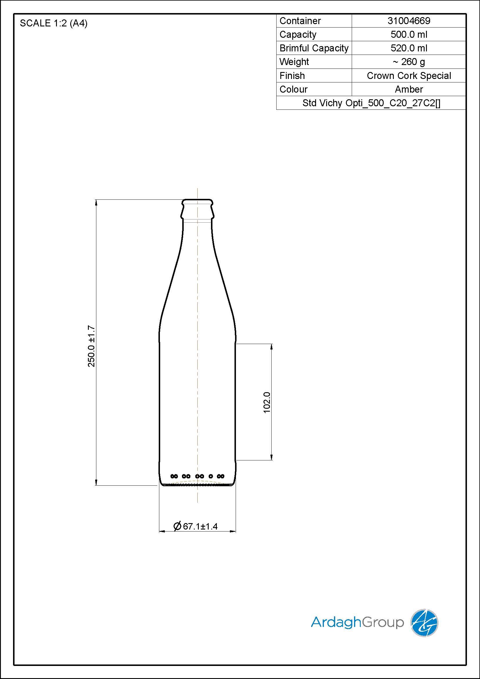 500ml Amber Glass Vichy Beer Bottle 31004669