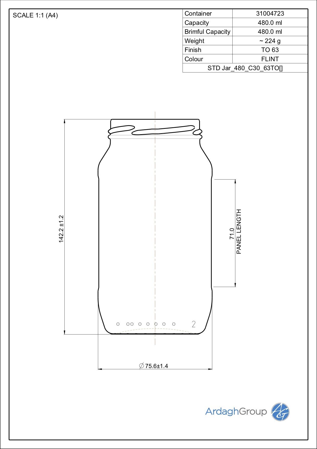 480ml flint glass food jar