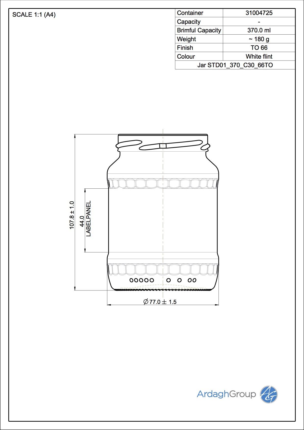 370ml Flint Glass Food Bottle 31004725