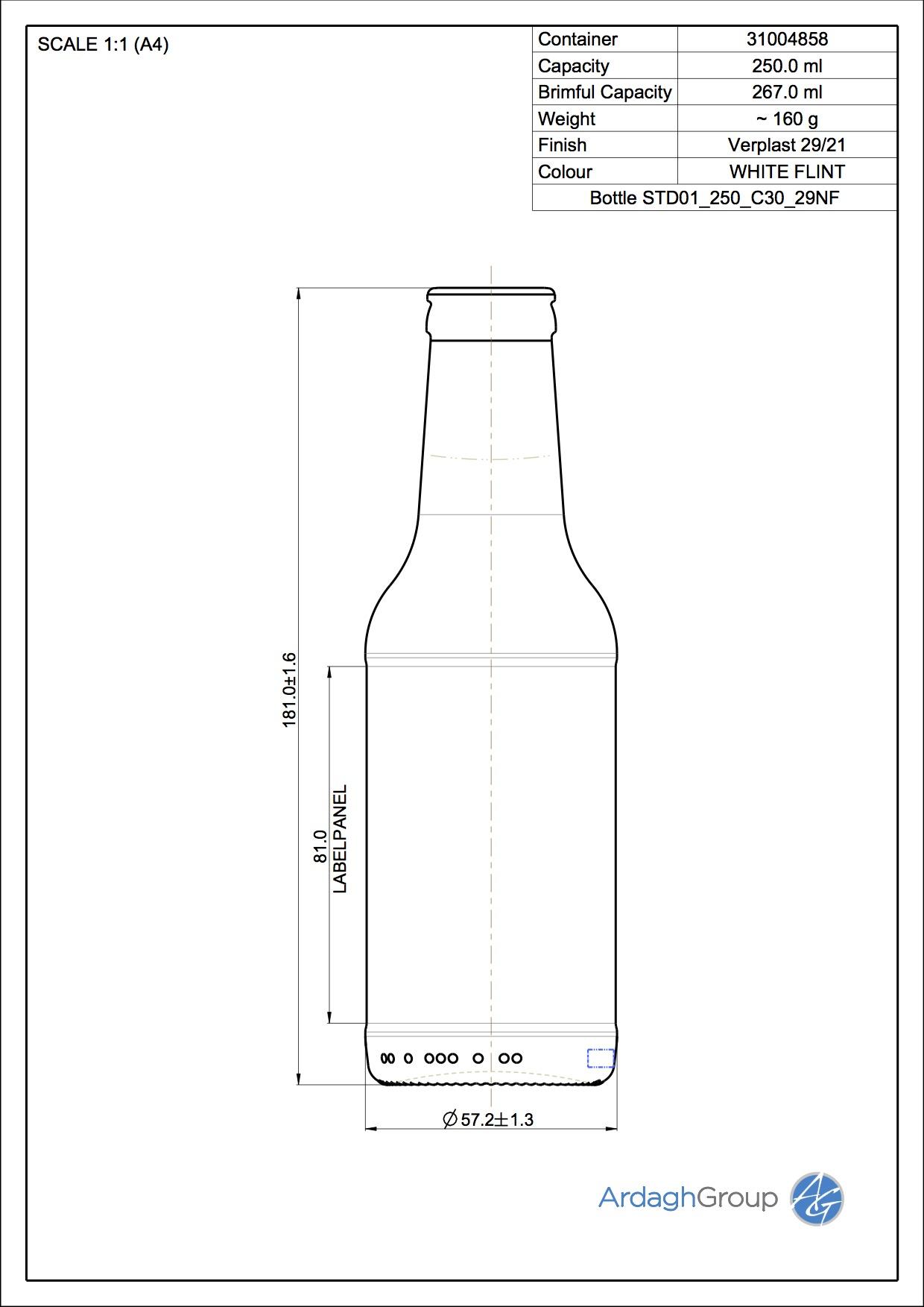 250ml Flint Glass FAB Bottle 31004858