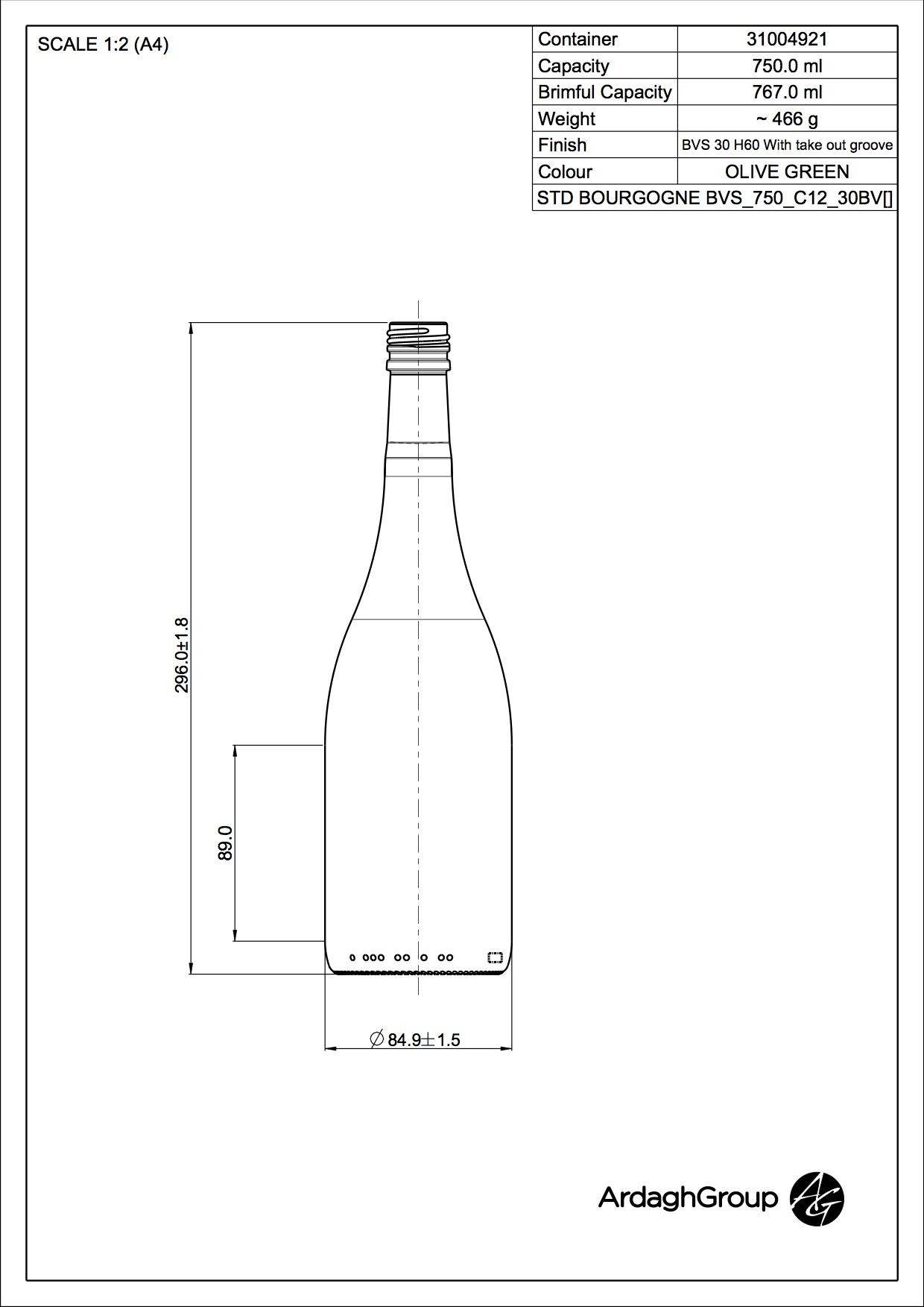 750ml green glass Bourgogne oneway wine bottle