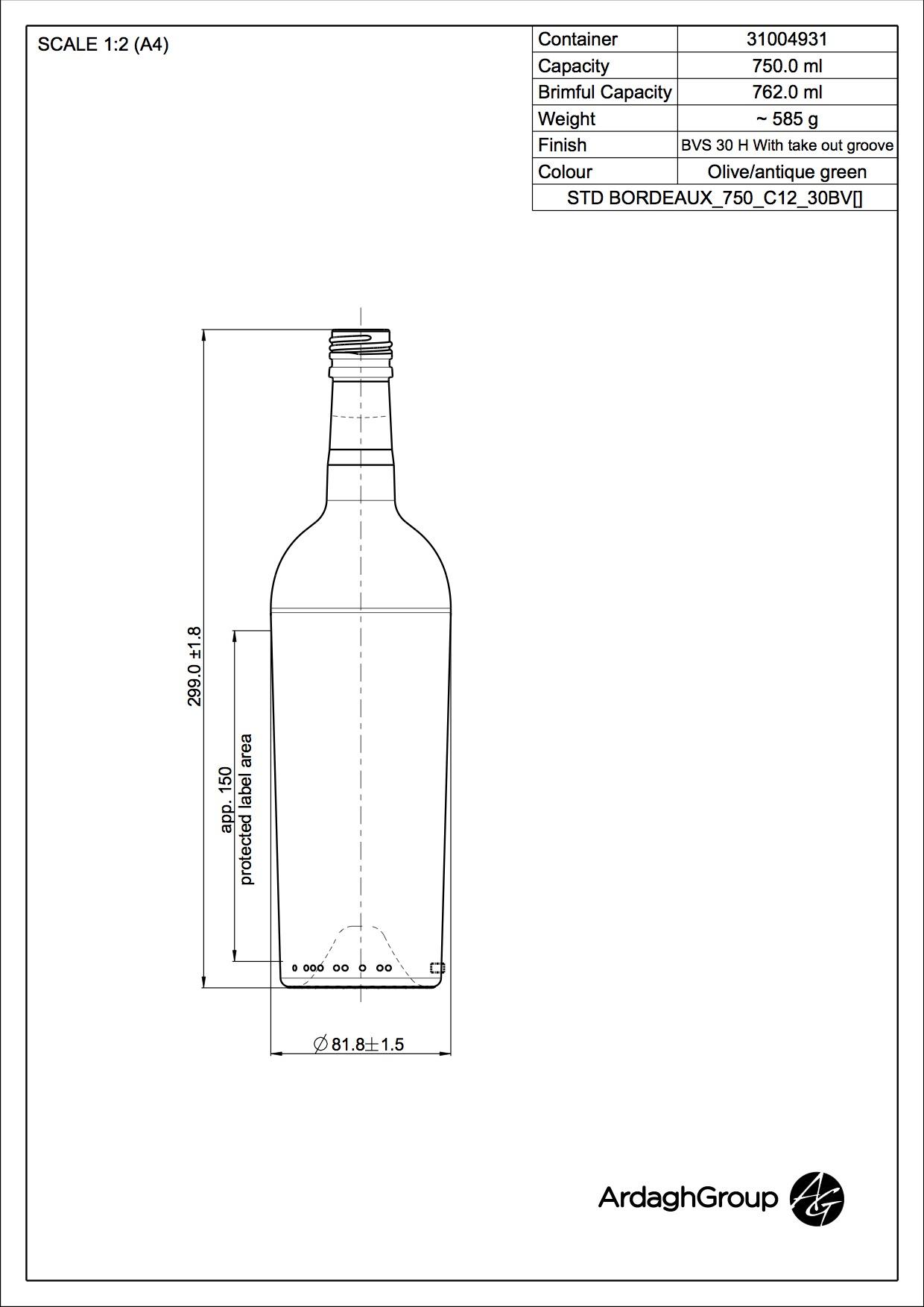 STD BORDEAUX CON 750 C12 30BV